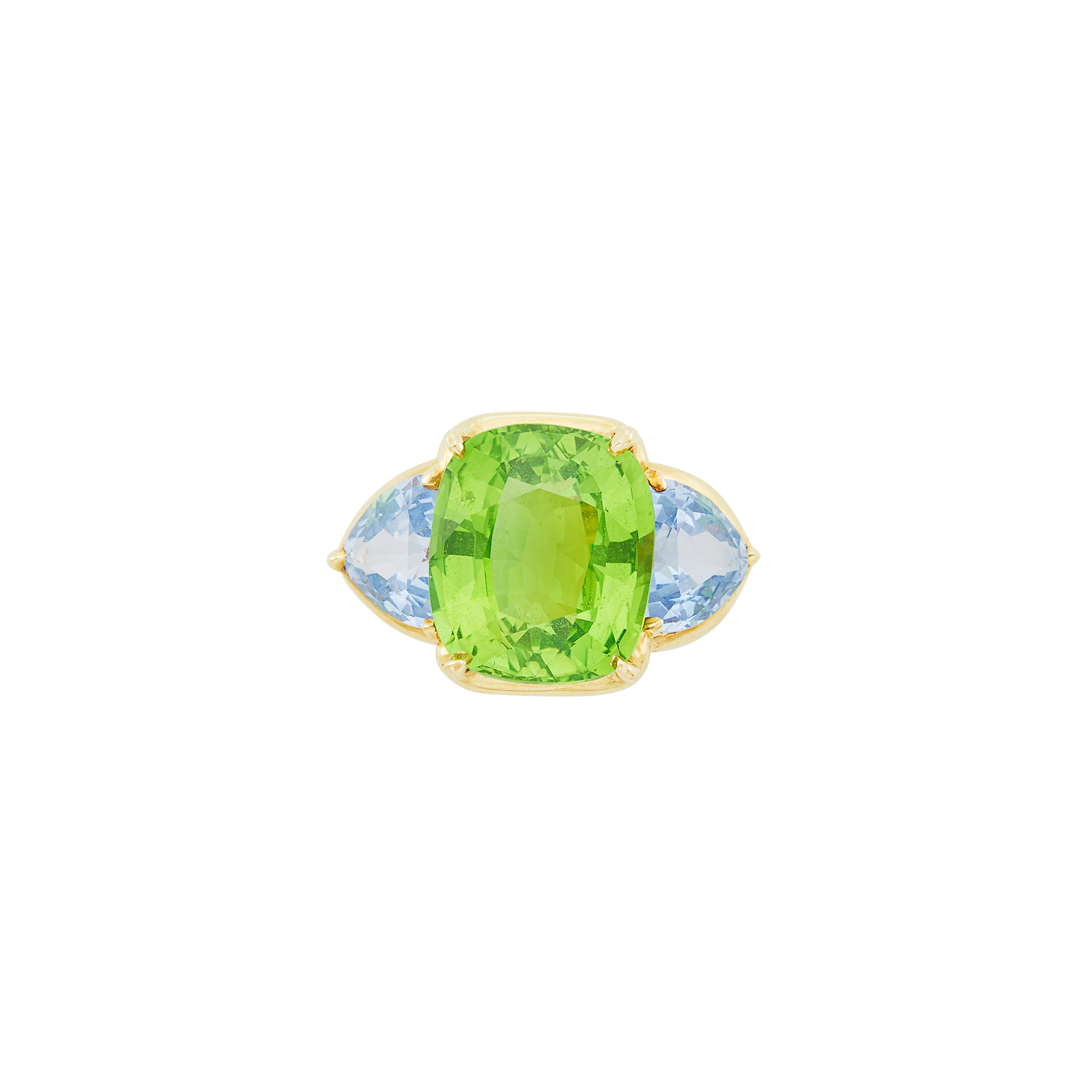 Lot image - Gold, Peridot and Blue Spinel Ring