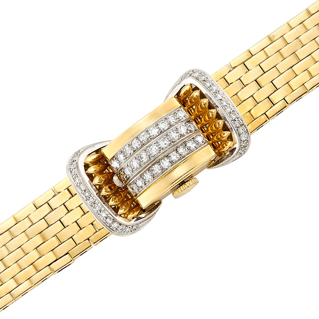 Lot image - Lady's Two-Color Gold and Diamond Bracelet-Watch, Rolex