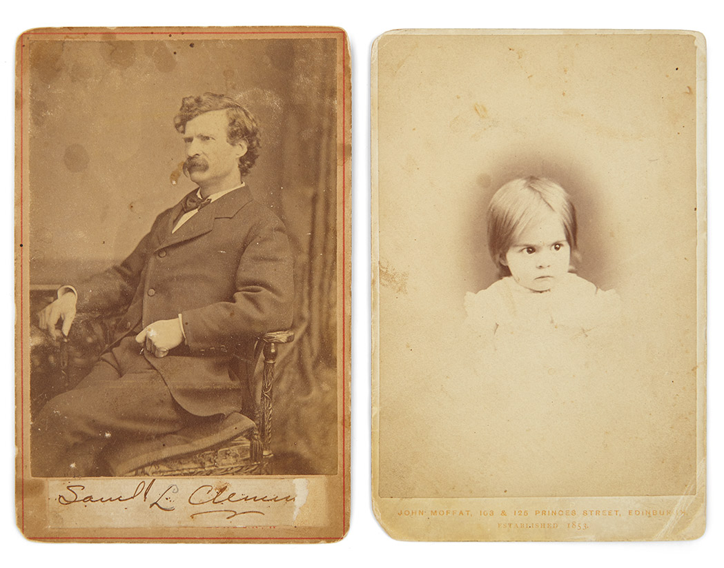 Lot image - [CLEMENS, SAMUEL L. (=TWAIN, MARK)]  Group of cabinet cards relating to Samuel Clemens Missouri family, two bearing inscriptions from Twain.