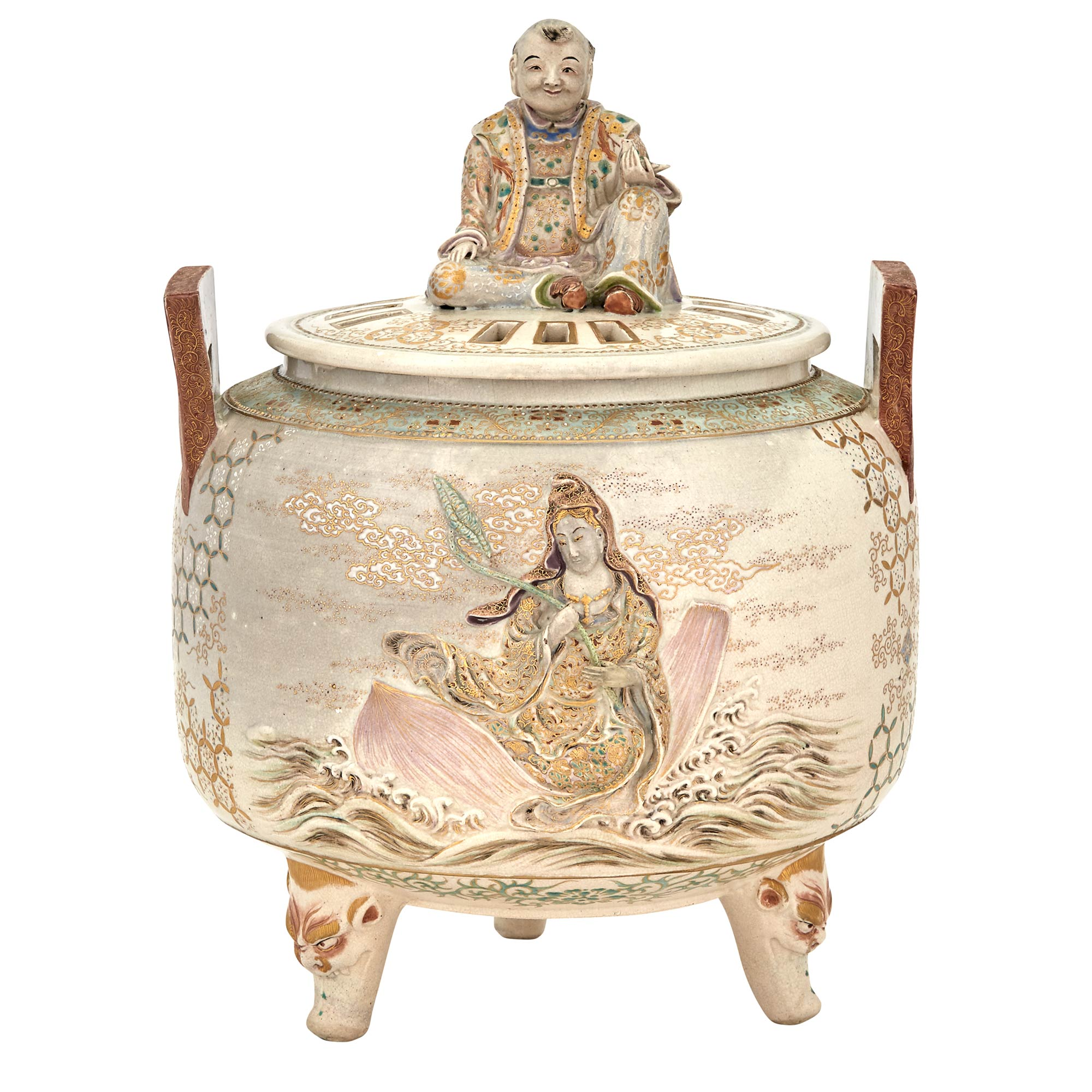 Lot image - Japanese Satsuma Covered Censer