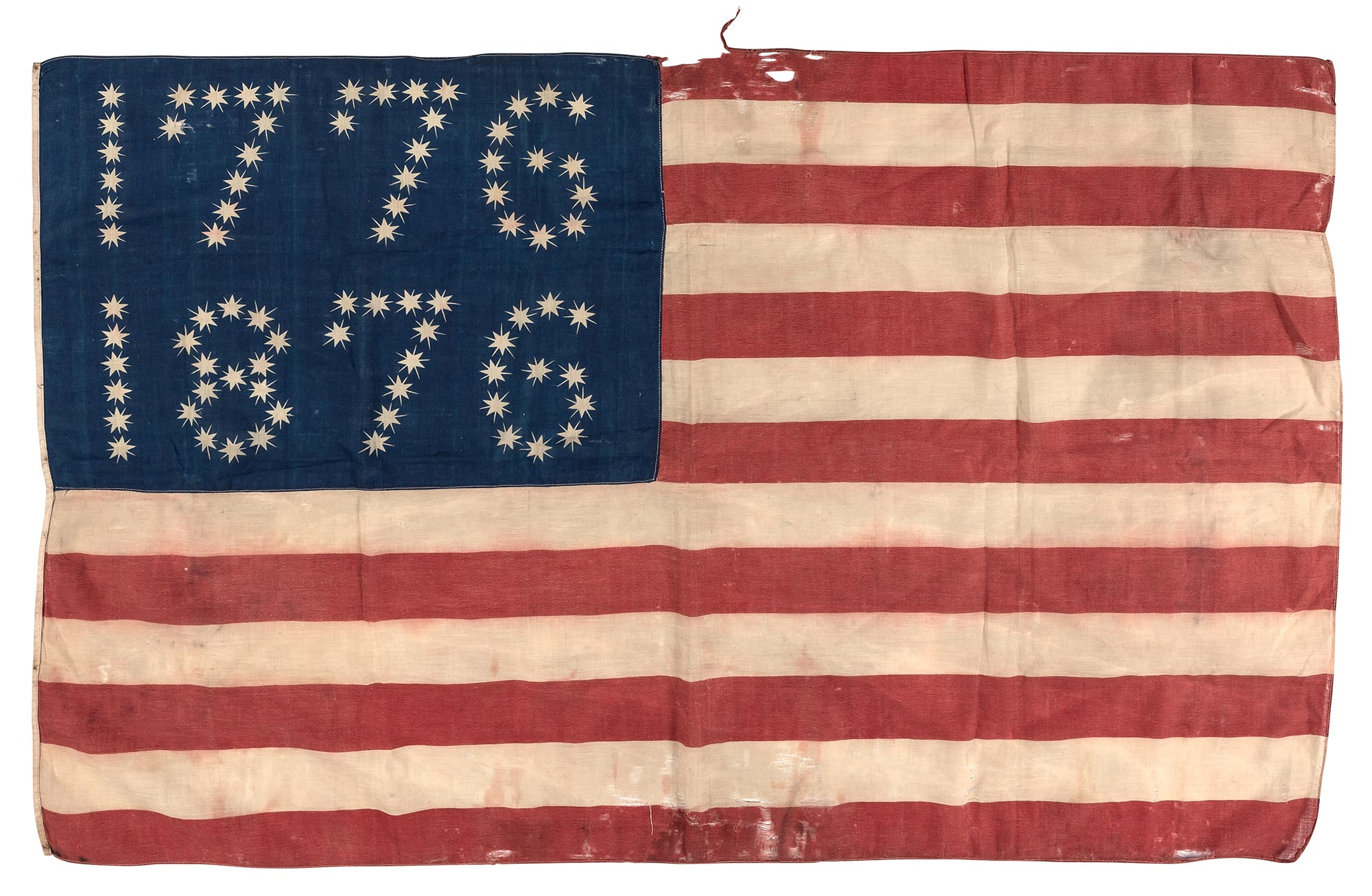Lot image - [AMERICAN FLAG]  Centennial American parade flag with stars arranged in the 1776/1876 pattern.