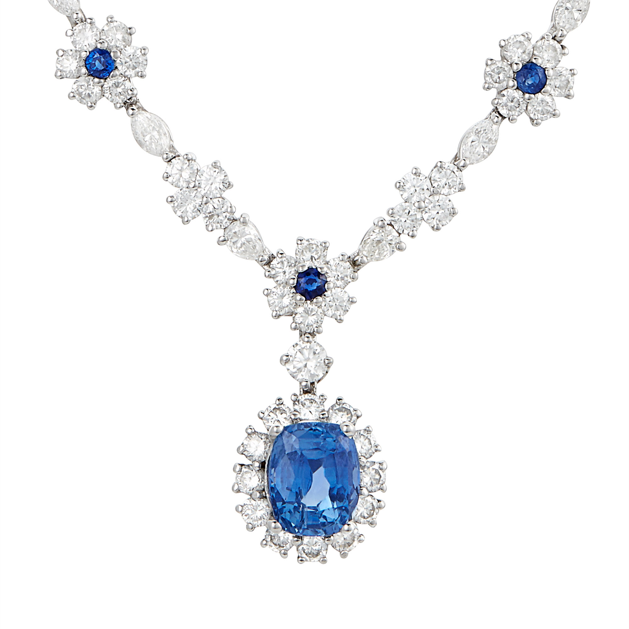 Lot image - Platinum, Sapphire and Diamond Necklace
