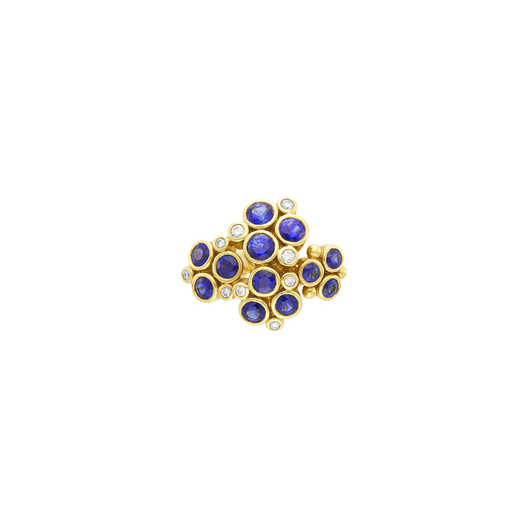 Lot image - Temple St. Clair Gold, Sapphire and Diamond Loclus Ring