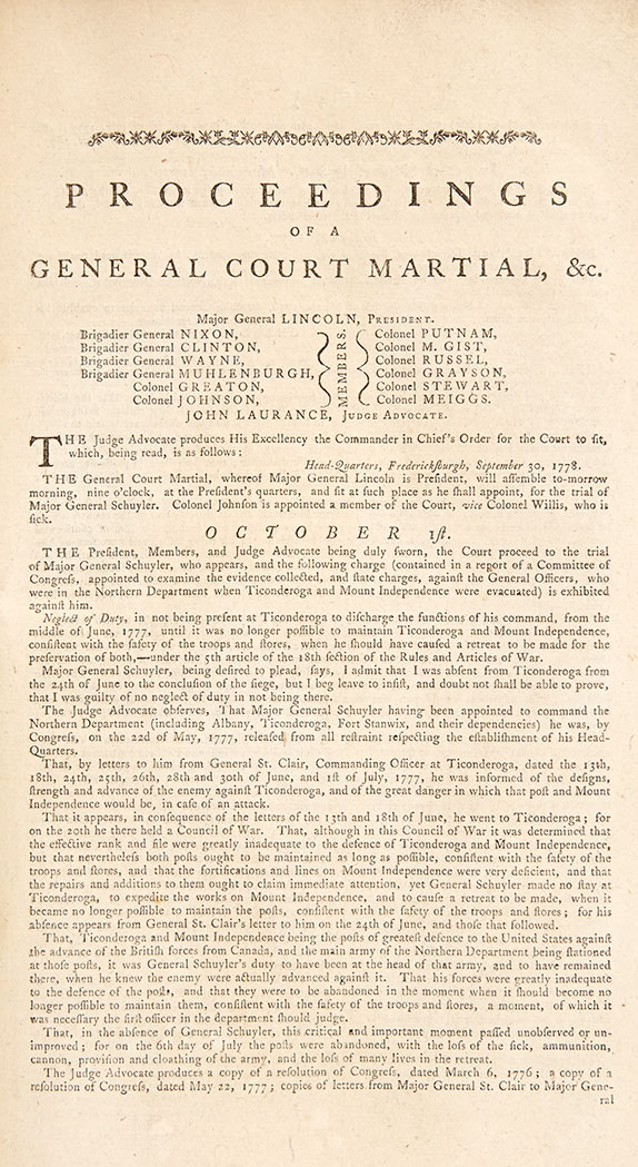 Lot image - [AMERICAN REVOLUTION - SCHUYLER, PHILIP] Proceedings of a General Court Martial, held at Major General Lincolns Quarters, near...