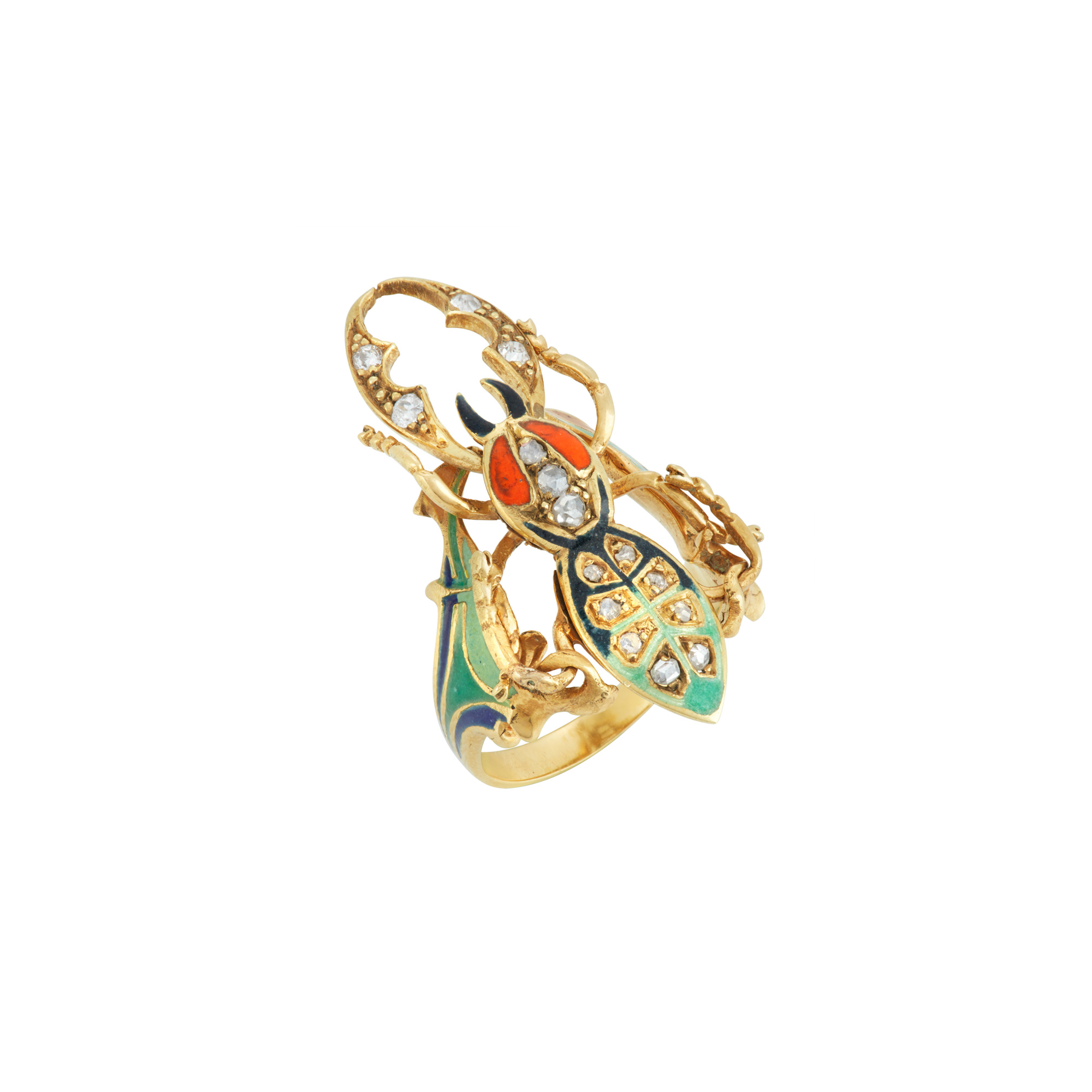 Lot image - Gold, Enamel and Diamond Beetle Ring