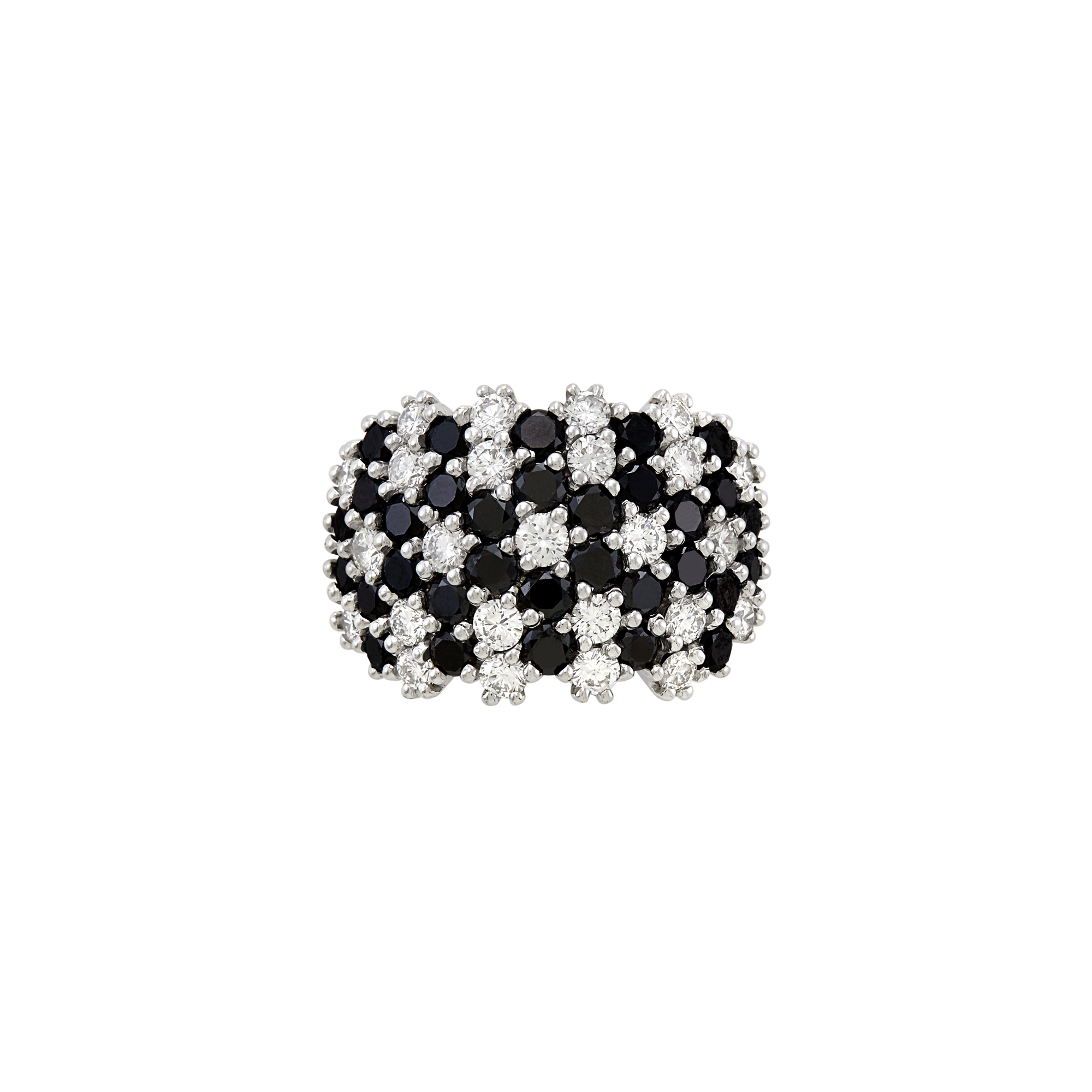 Lot image - Two-Color Gold, Diamond and Black Diamond Ring