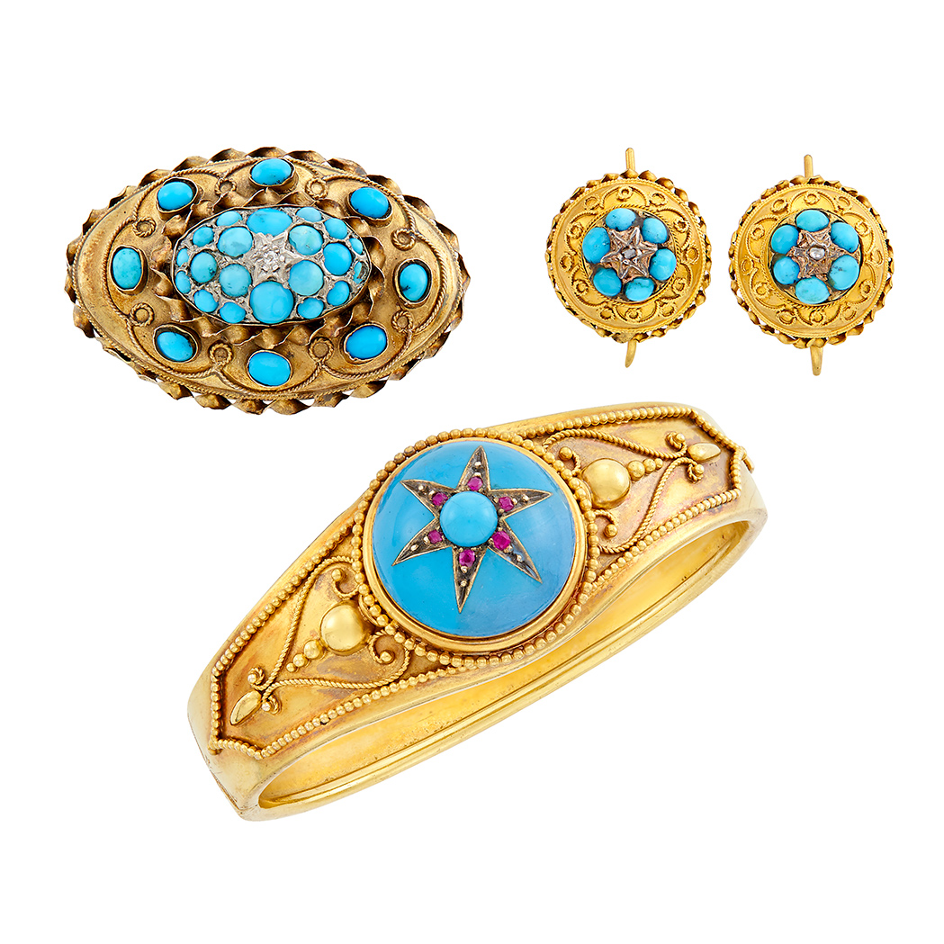 Lot image - Antique Gold, Turquoise, Enamel, Ruby and Diamond Bangle Bracelet, Brooch and Pair of Earrings