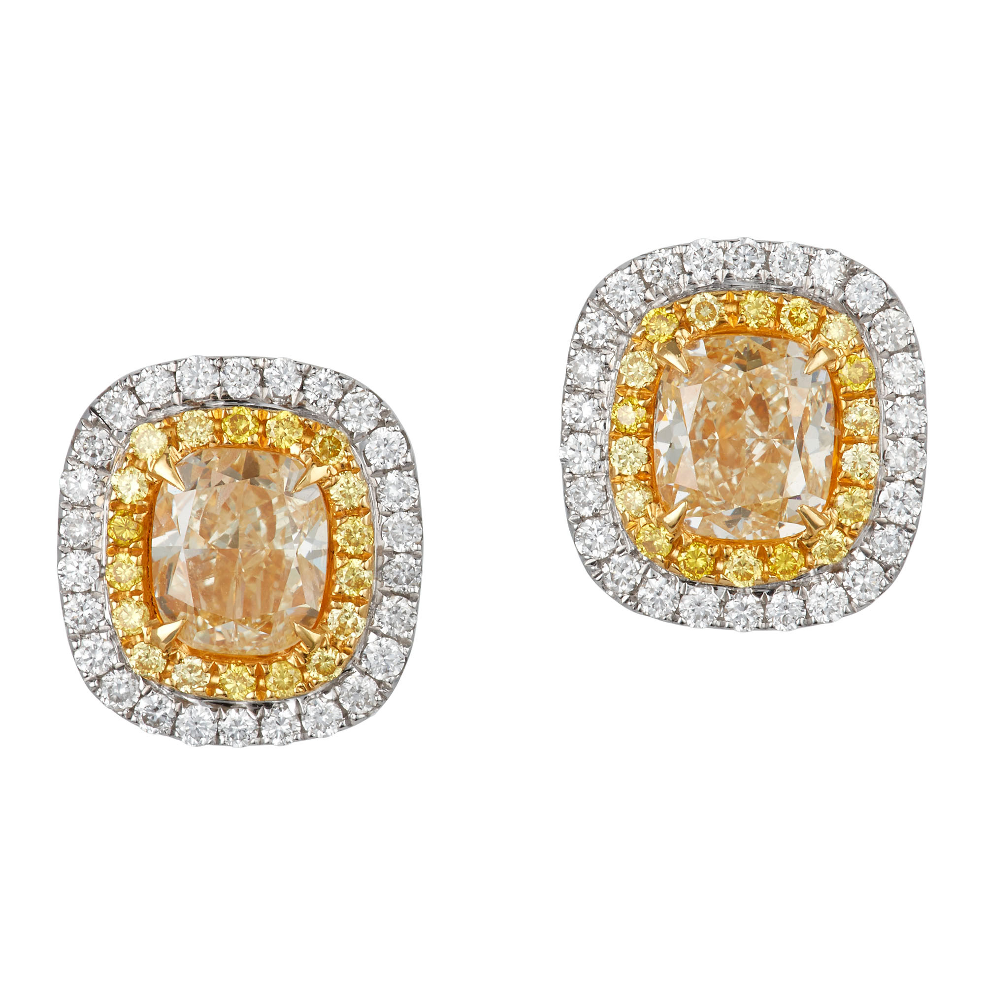 Lot image - Pair of Two-Color Gold, Yellow Diamond and Diamond Earrings