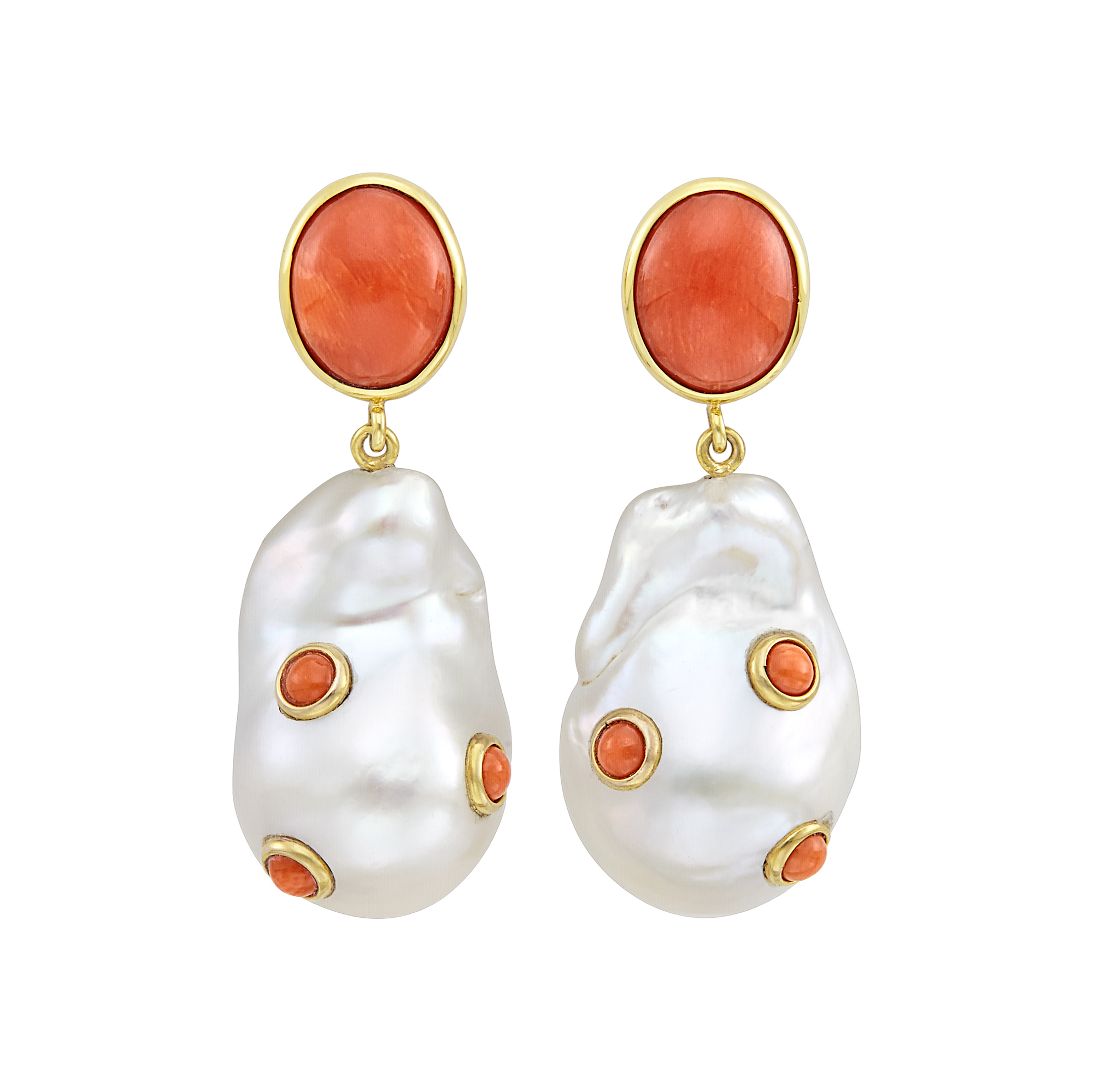 Lot image - Pair of Gold, Coral and Baroque Freshwater Pearl Pendant-Earrings, Maz