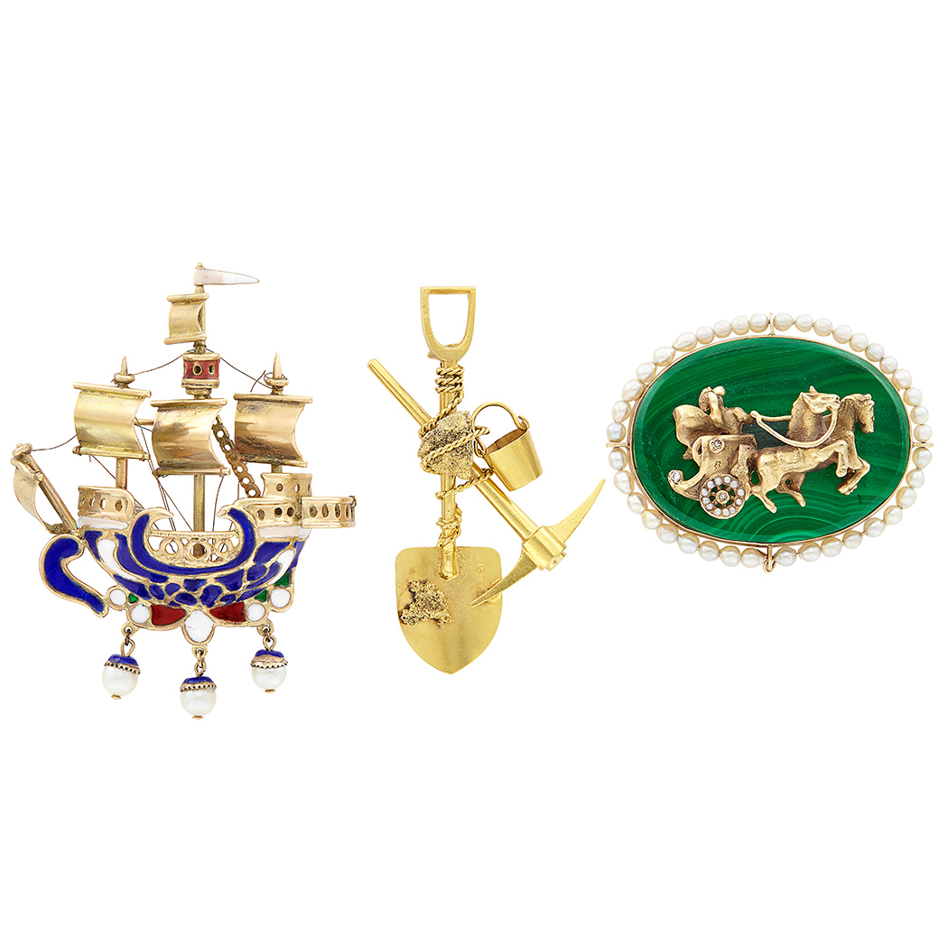 Lot image - Three Gold, Low Karat Gold, Malachite, Cultured Pearl, Enamel and Diamond Carriage, Galleon & Gold Miners Brooches