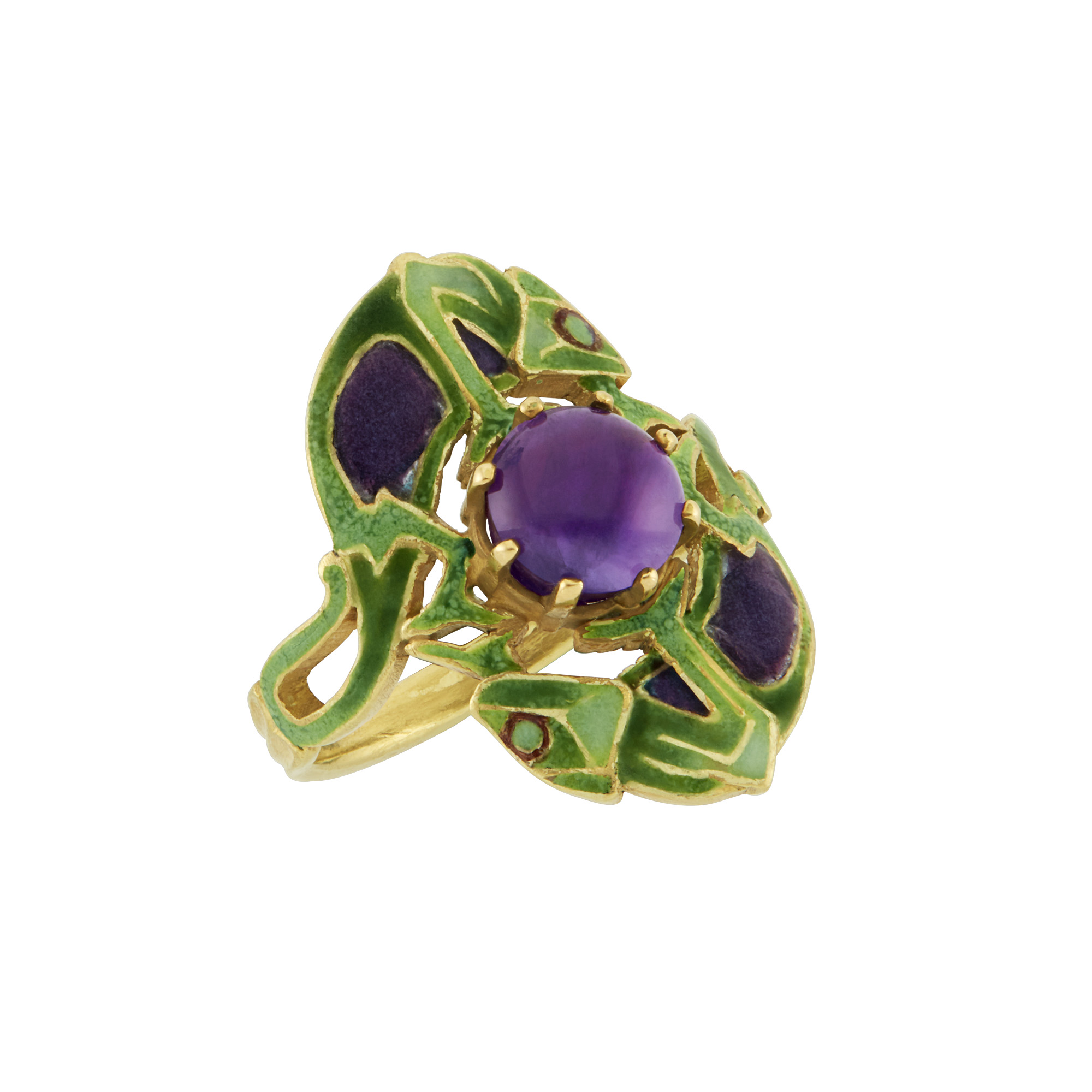 Lot image - Art Nouveau Gold, Amethyst and Enamel Double Chameleon Ring