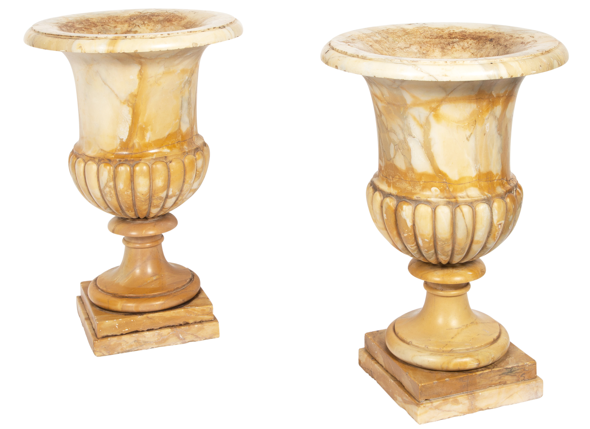Lot image - Pair of Italian Yellow Marble Urns