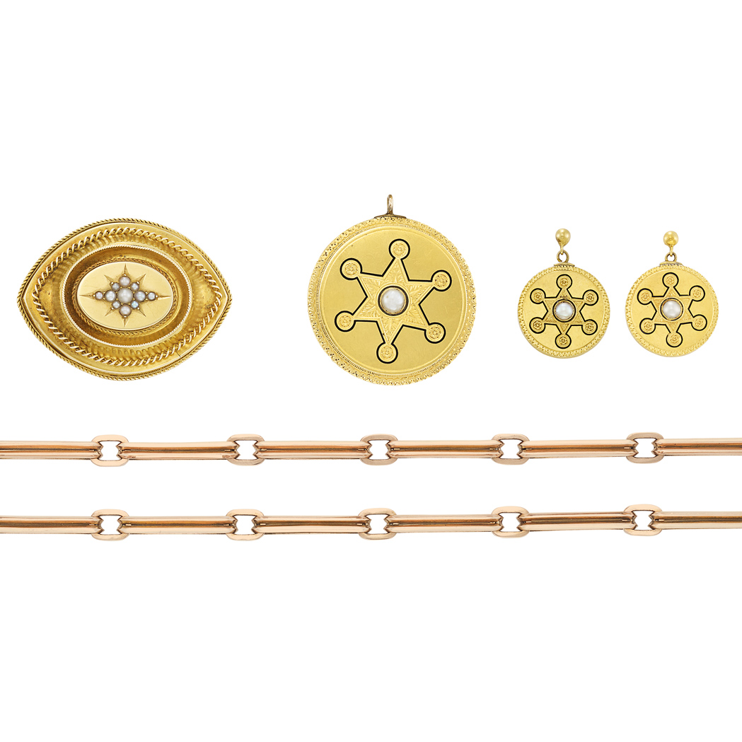 Lot image - Rose Gold Link Chain and Pair of Antique Gold, Enamel and Split Pearl Earrings and Two Brooches
