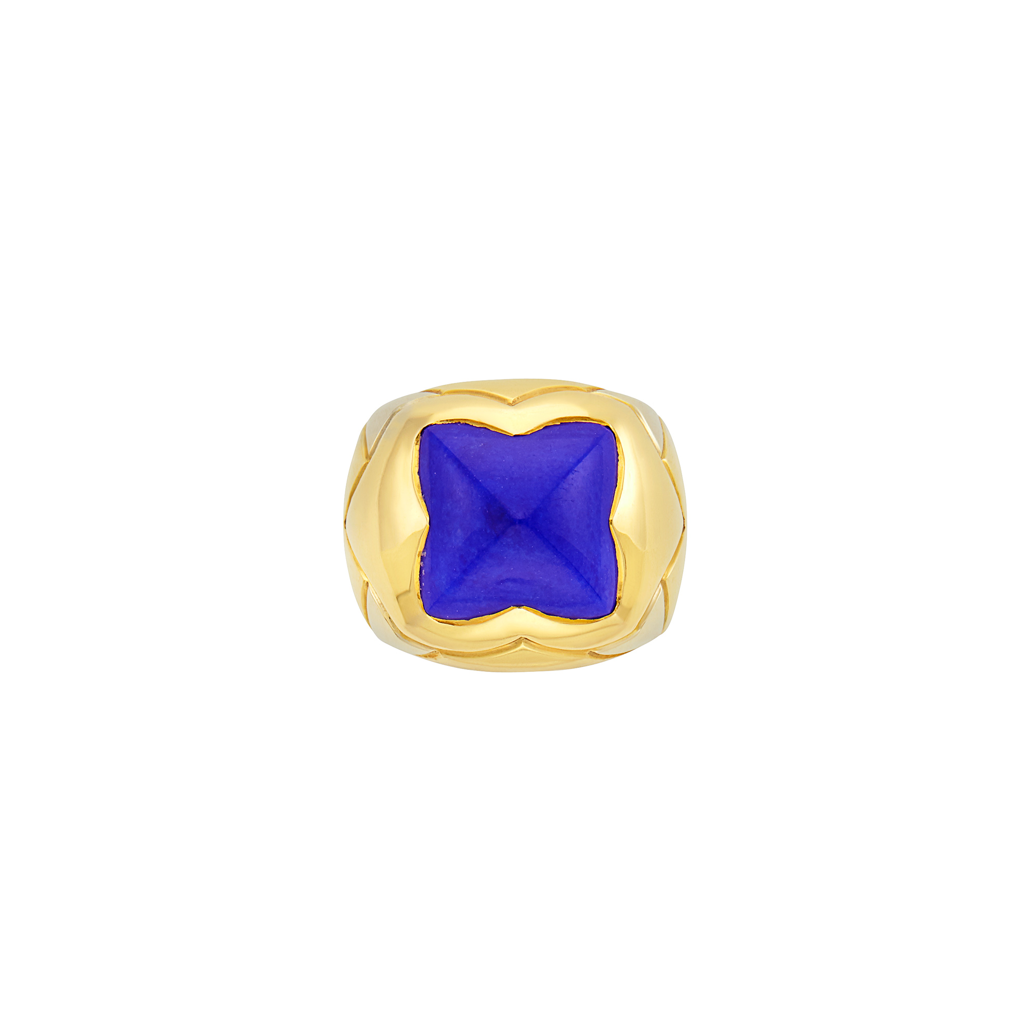 Lot image - Two-Color Gold and Lapis Pyramid Ring, Bulgari