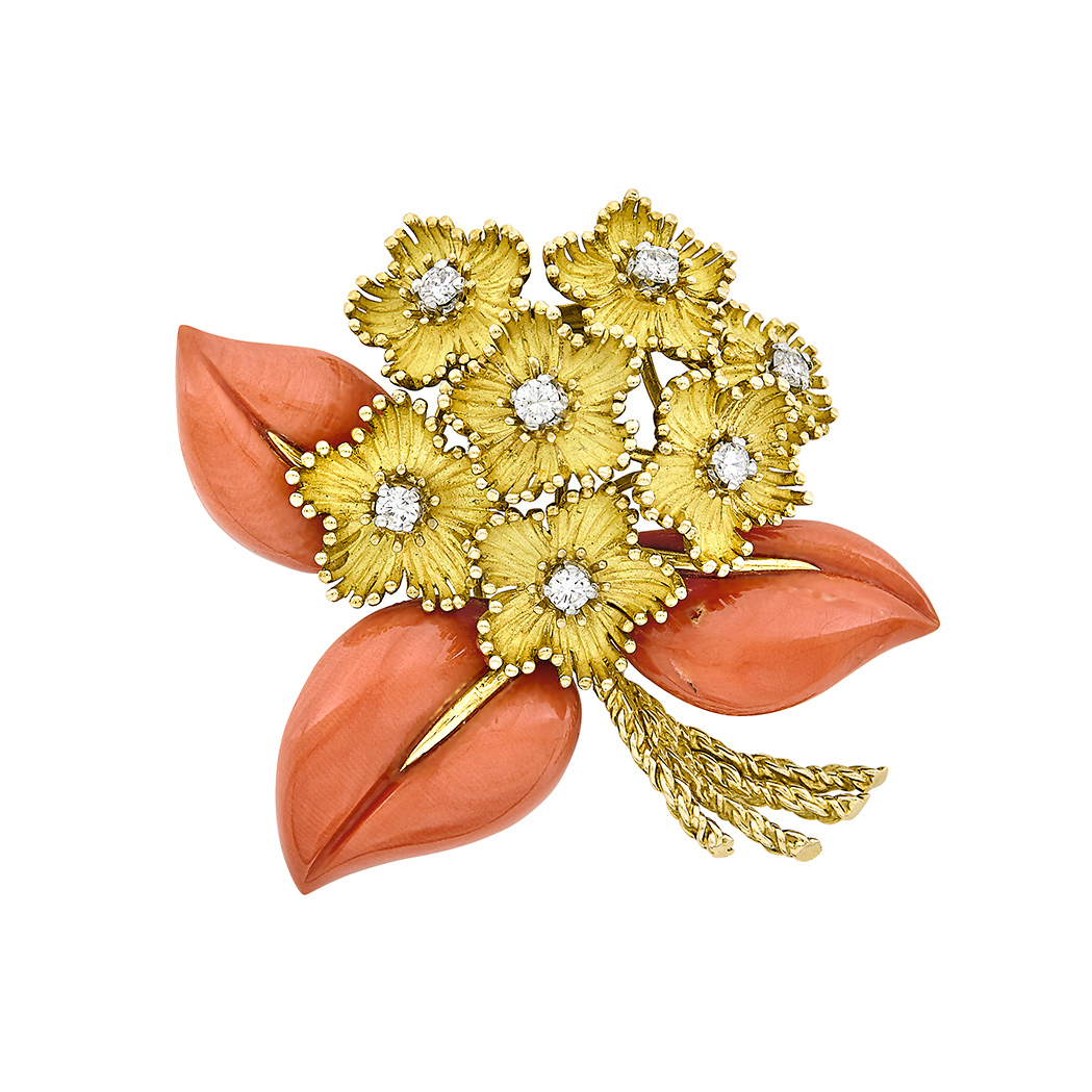 Lot image - Gold, Coral and Diamond Bouquet Clip-Brooch, Cartier, France