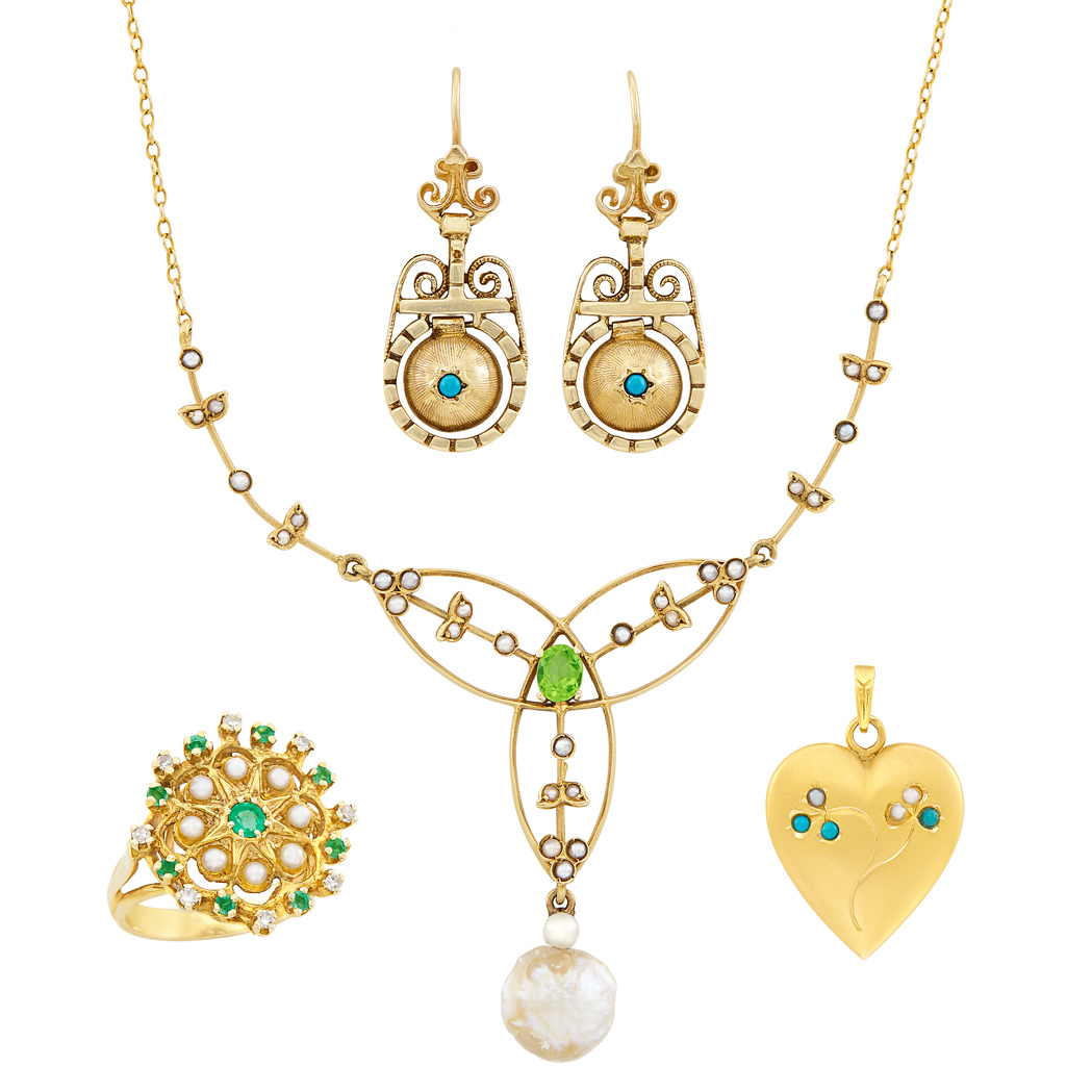 Lot image - Antique Gold, Emerald, Peridot, Split Pearl, Freshwater Pearl and Diamond Necklace, Pendant, Ring and Pair of Earrings