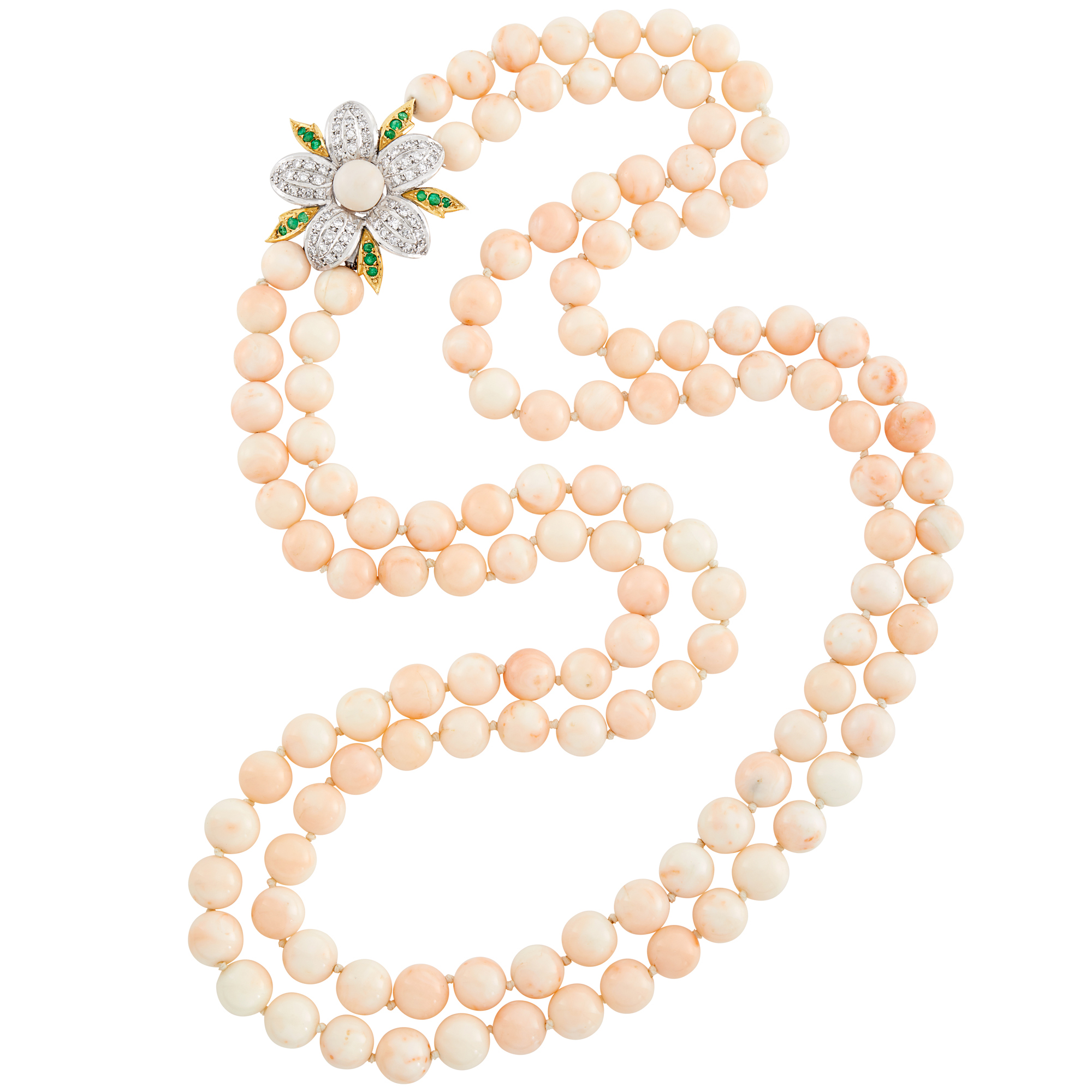 Lot image - Long Double Strand Angel Skin Coral Bead, Two-Color Gold, Coral, Diamond and Emerald Necklace