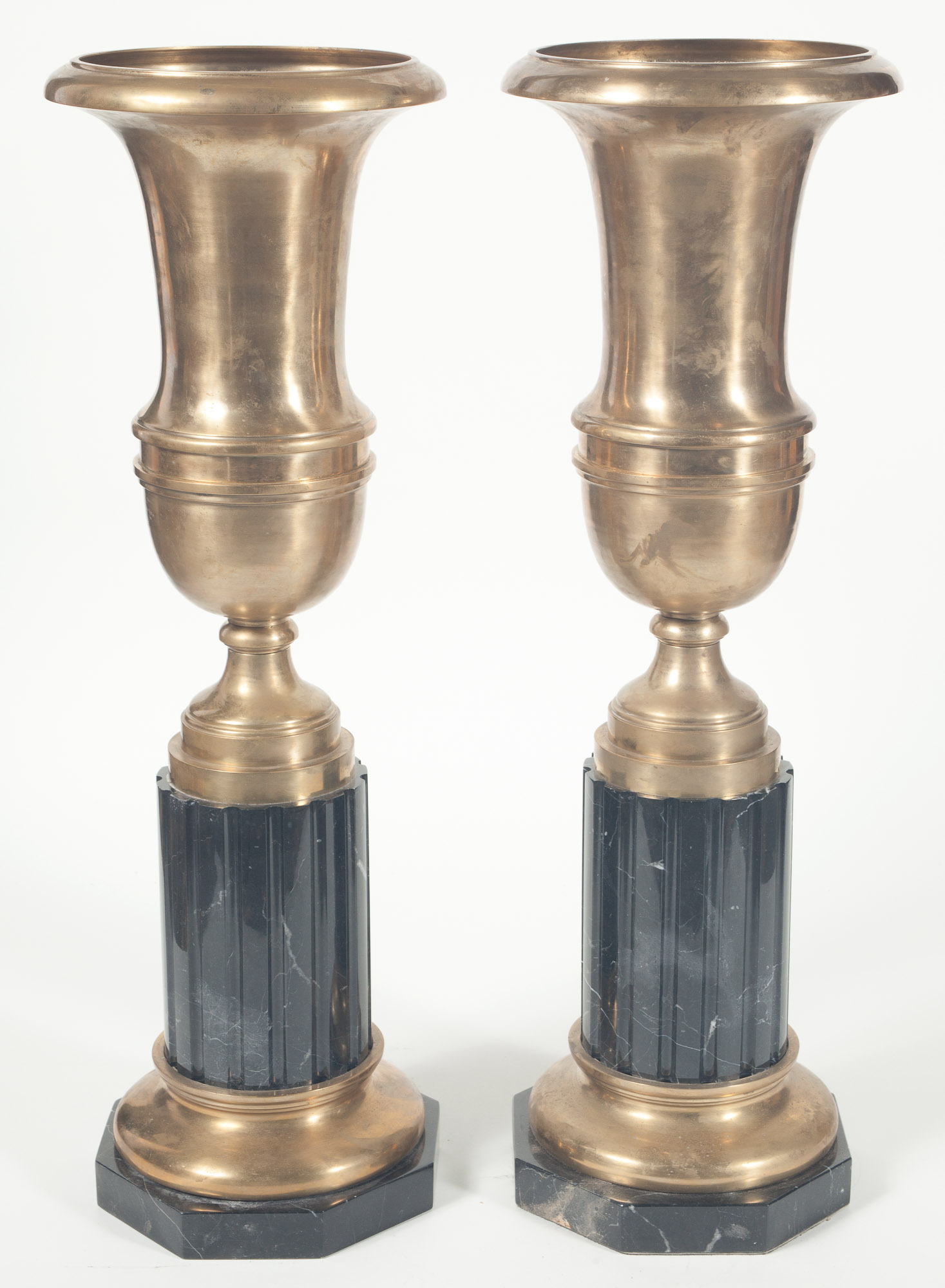 Lot image - Pair of Neoclassical Style Brass and Black Marble Urn-Form Vases on Pedestals