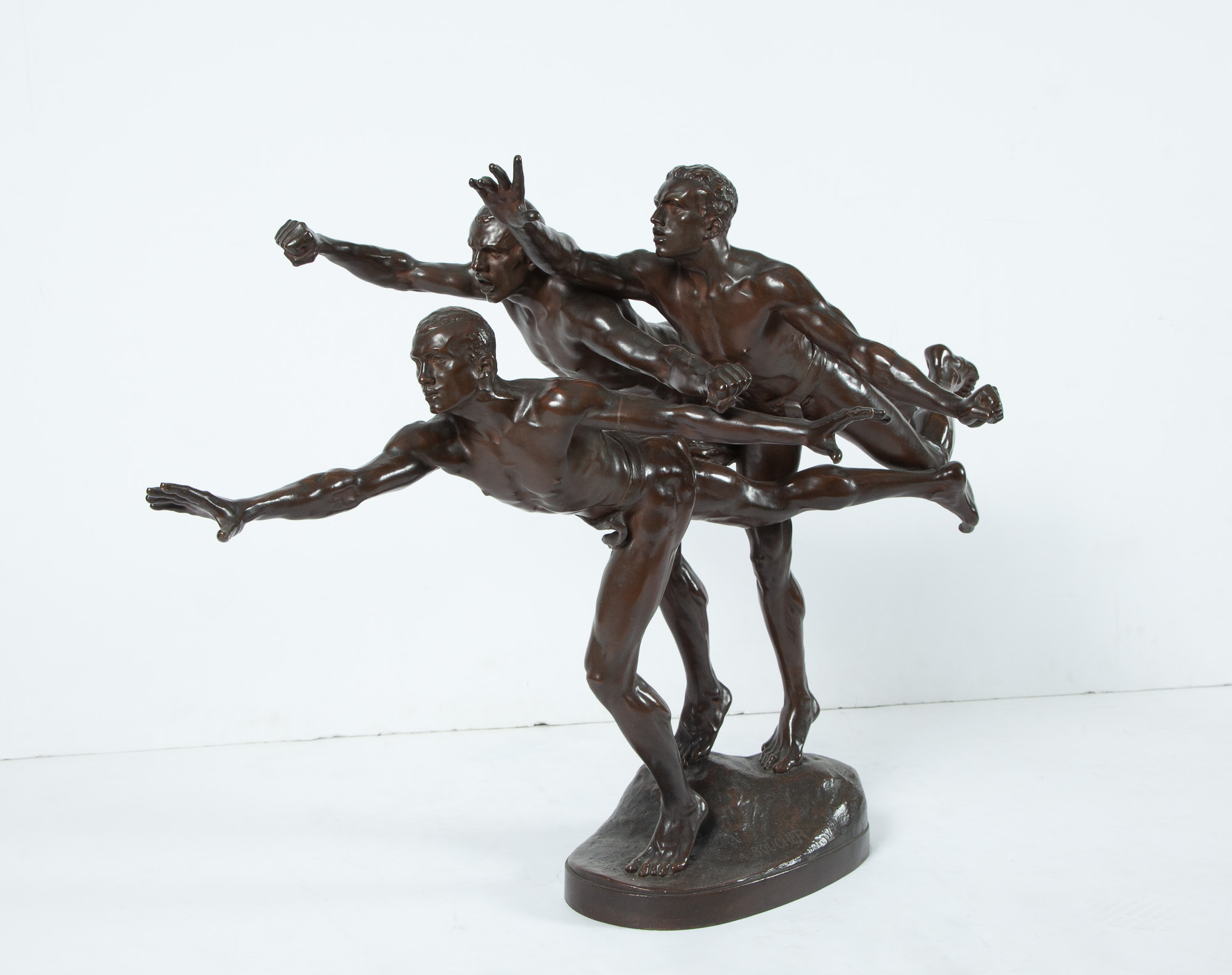 Lot image - Patinated Bronze Group of Three Male Runners at the Finish Line Entitled Au But