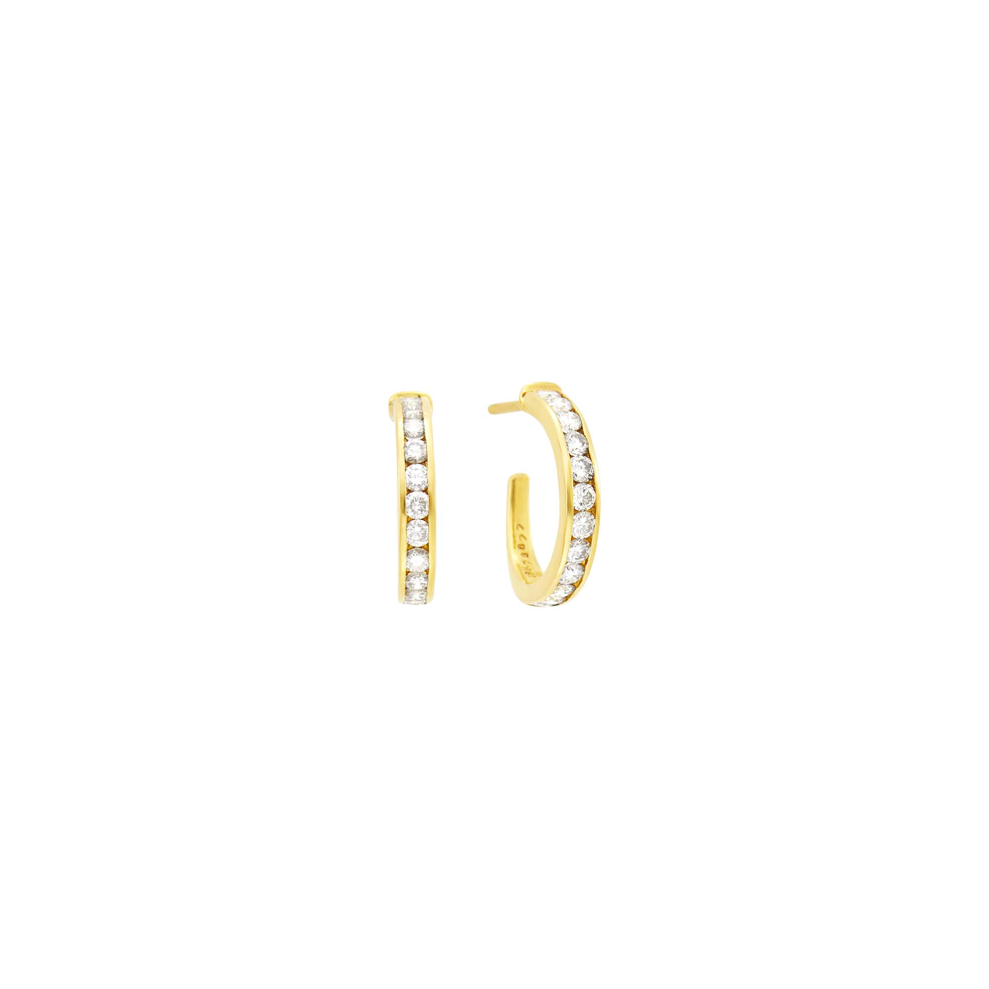 Lot image - Oscar Heyman Brothers Pair of Gold And Diamond Hoop Earrings