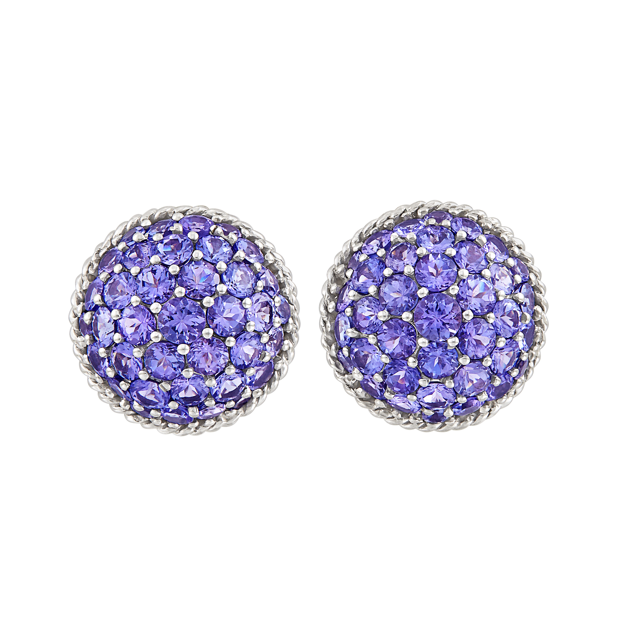 Lot image - Pair of White Gold and Violet Sapphire Bombé Earclips, Mish