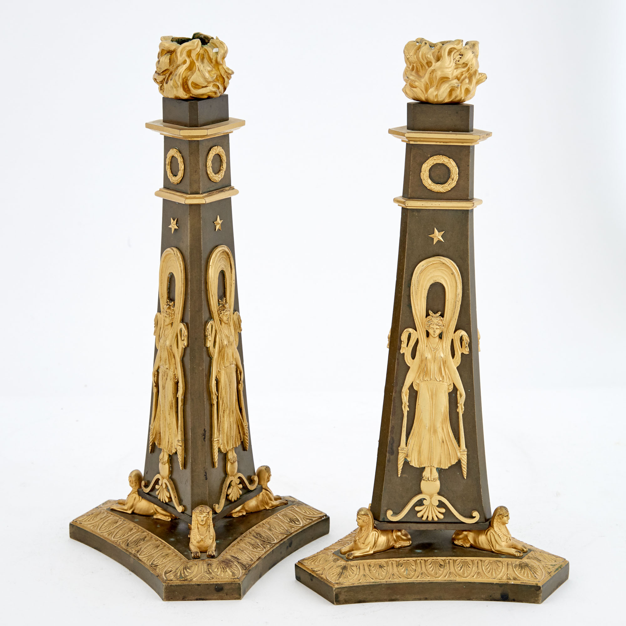 Lot image - Pair of Empire Style Gilt and Patinated Bronze Candlesticks