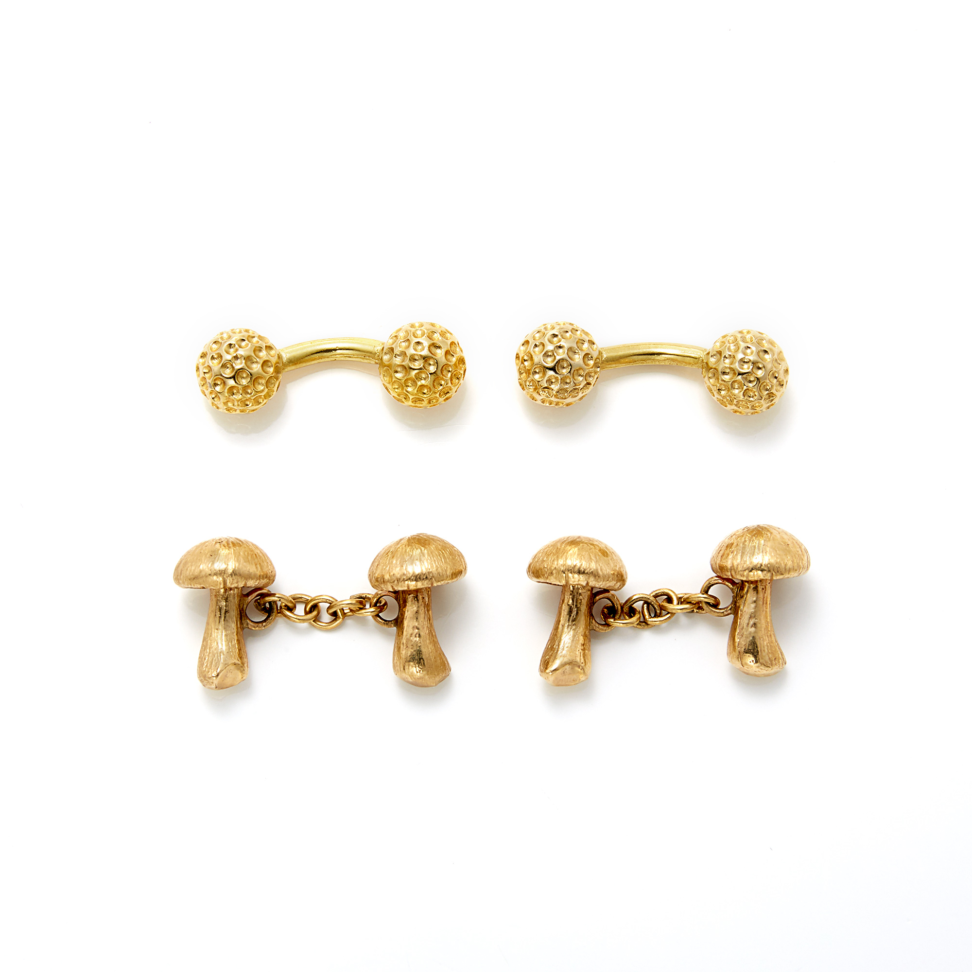 Lot image - Pair of Gold Mushroom Cufflinks and Pair of Golf Ball Cufflinks
