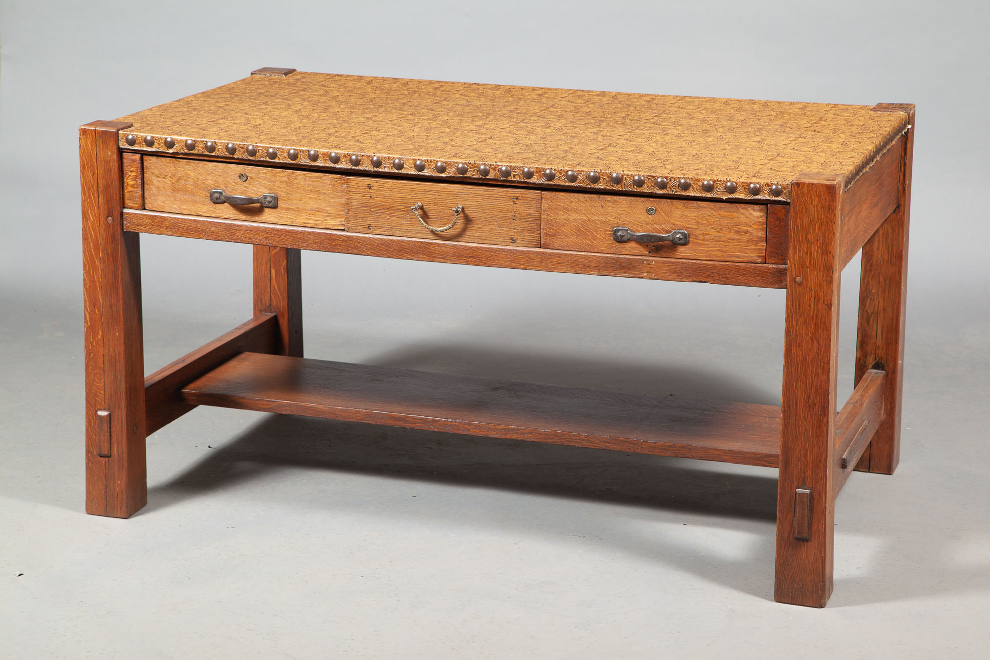 Lot image - Arts and Crafts Oak Desk