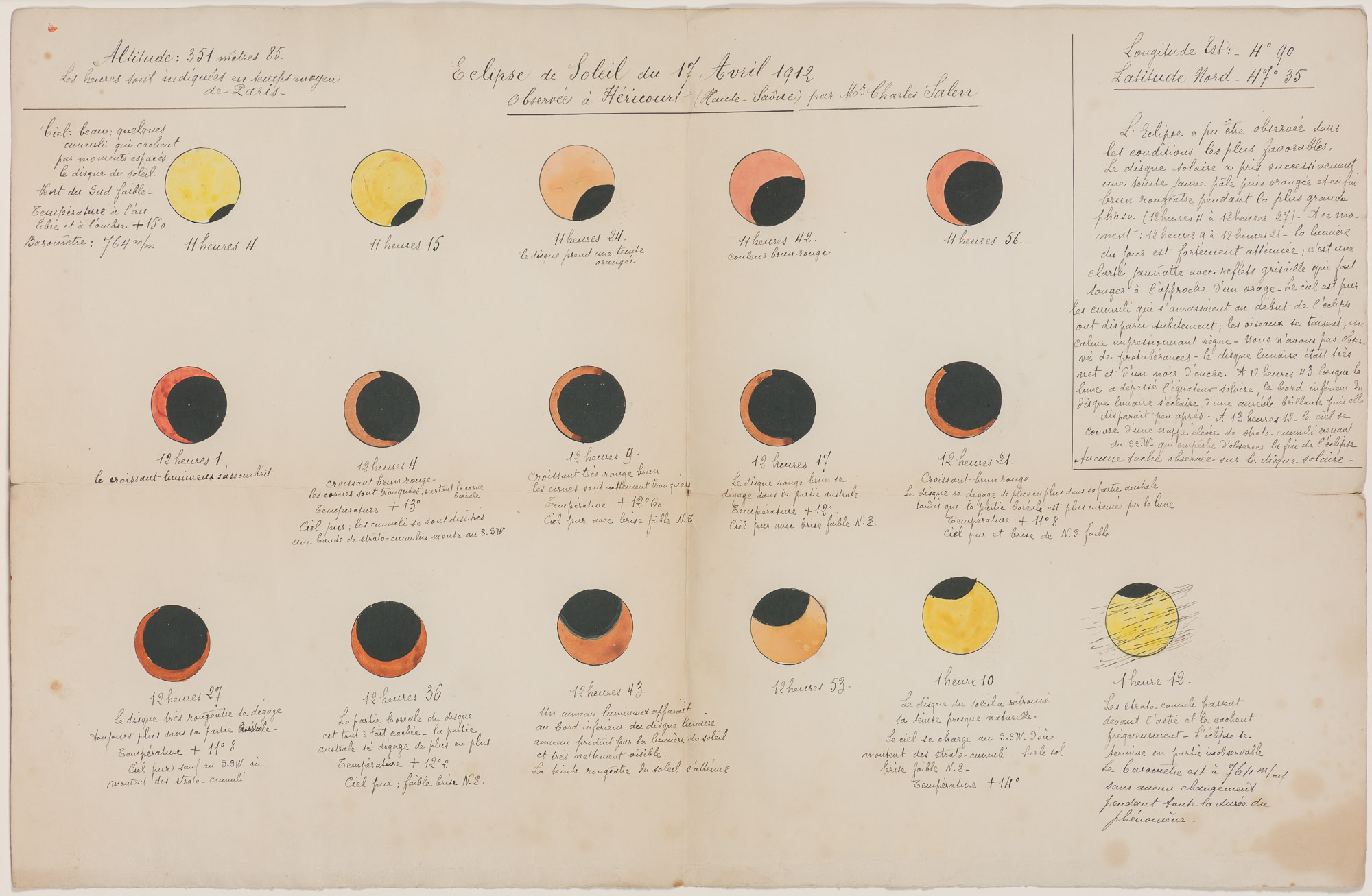 Lot image - [Solar Eclipse] A French 1912 Illustration of a Solar Eclipse