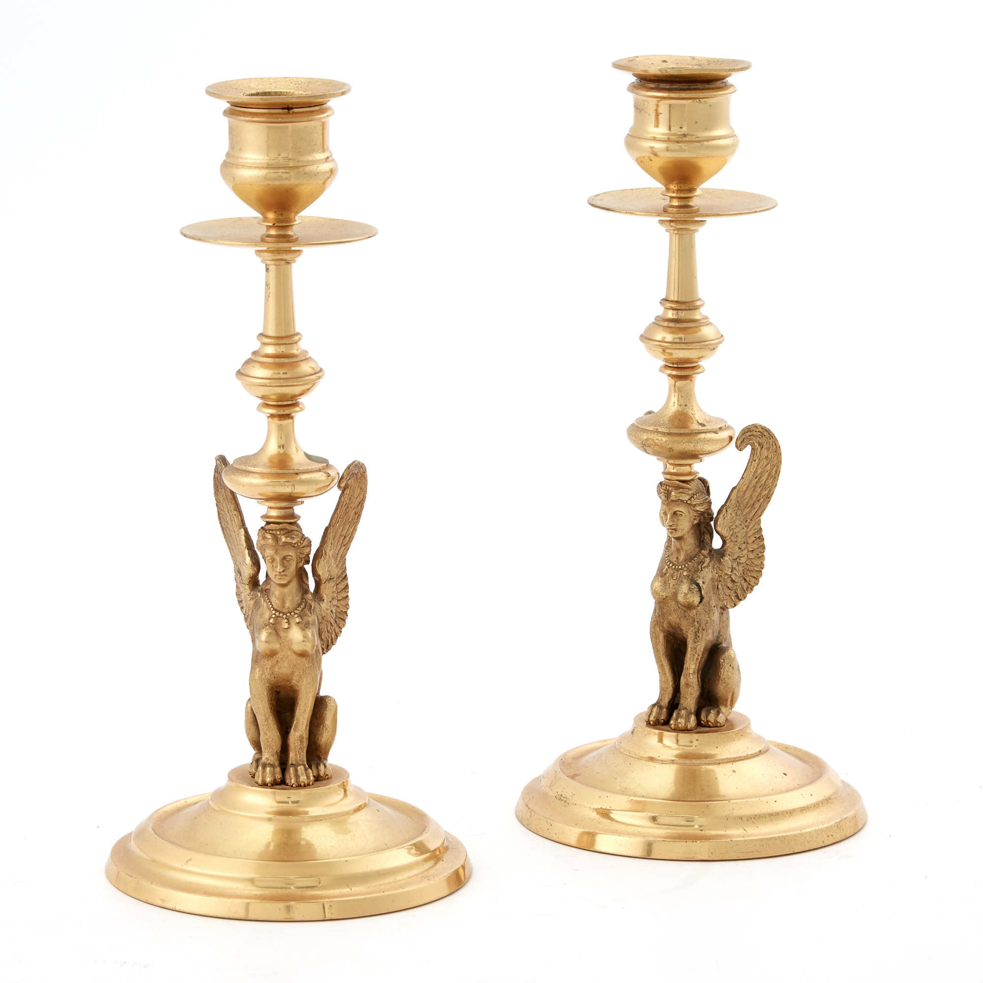 Lot image - Pair of Empire Style Gilt-Metal Candlesticks
