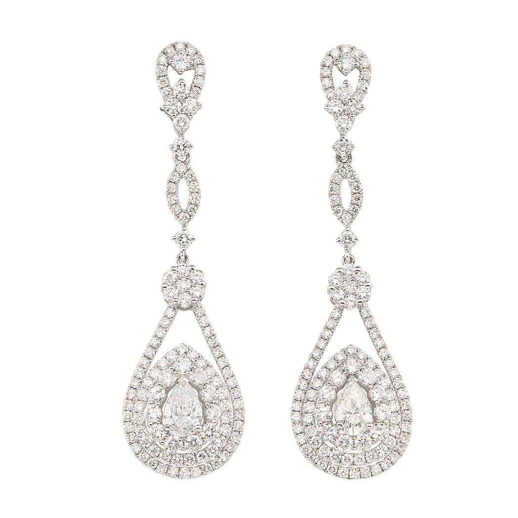 Lot image - Pair of White Gold and Diamond Pendant-Earrings