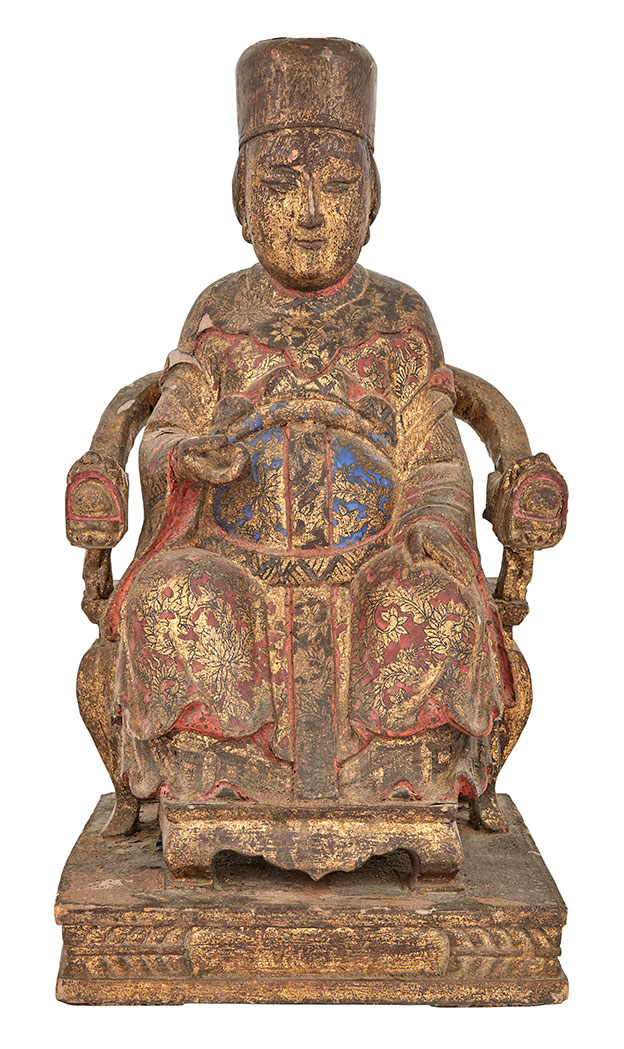 Lot image - Chinese Painted and Gilt Wood Figure of a Seated Official