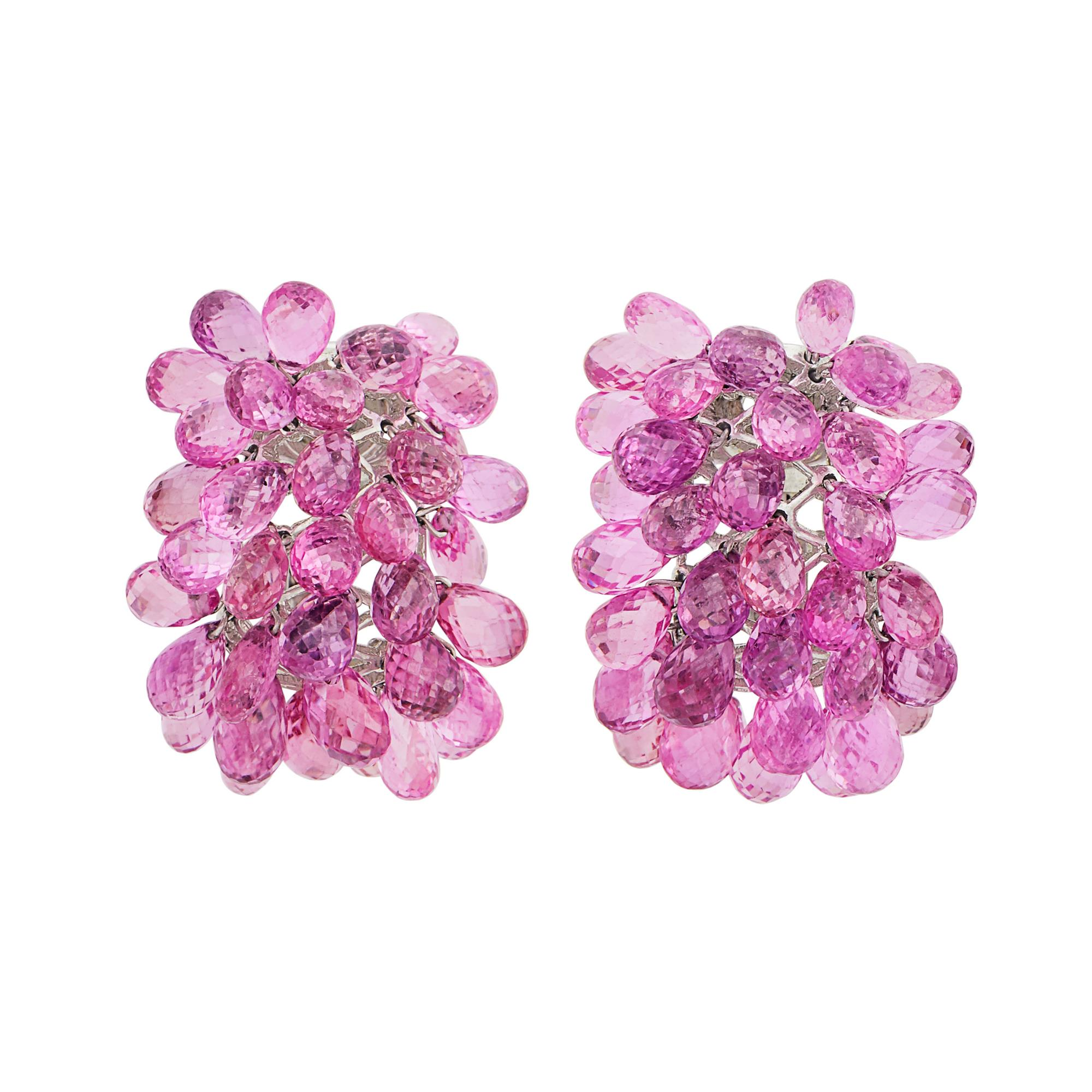 Lot image - Pair of White Gold and Pink Sapphire Briolette Cluster Earclips, Verdura