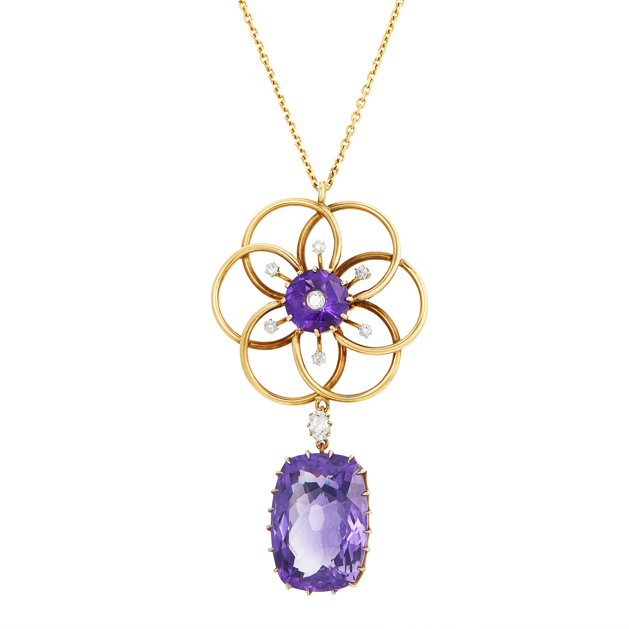 Lot image - Antique Low Karat Gold, Gilt-Silver, Amethyst and Diamond Pendant with Chain Necklace