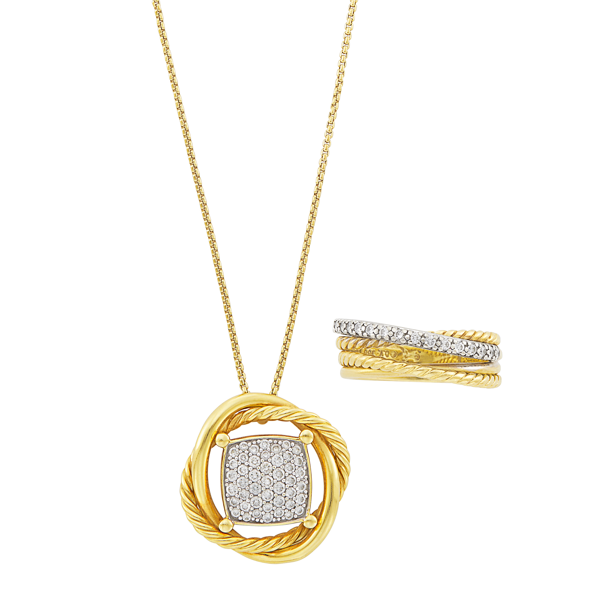 Lot image - Two-Color Gold and Diamond Pendant-Necklace and Ring, David Yurman