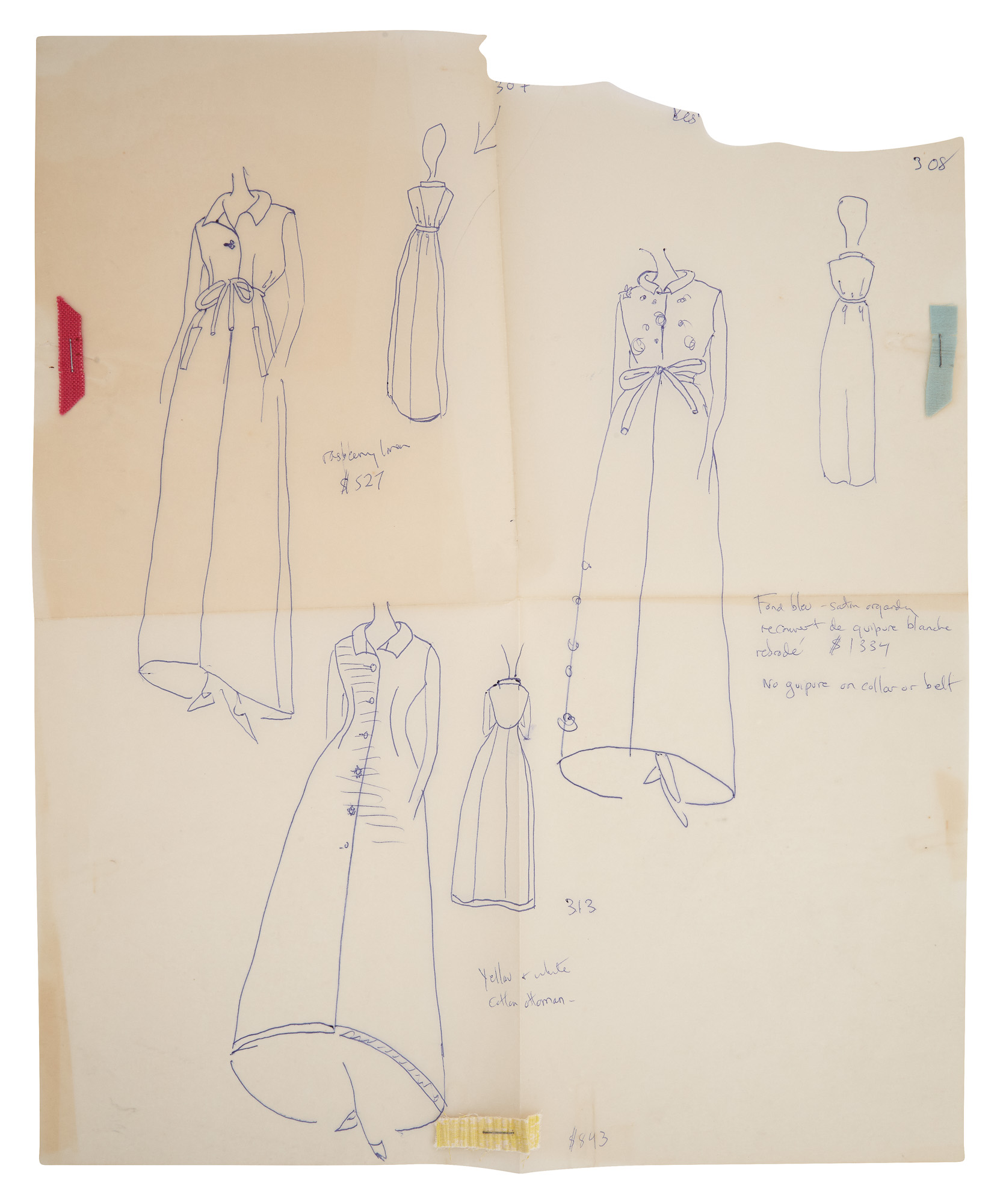 Lot image - [CASSINI-KENNEDY FASHIONS]  An important archive of original drawings, correspondence, annotated clippings, and workshop ephemera related to the development of Cassinis fashions for Mrs. Kennedy as First Lady.