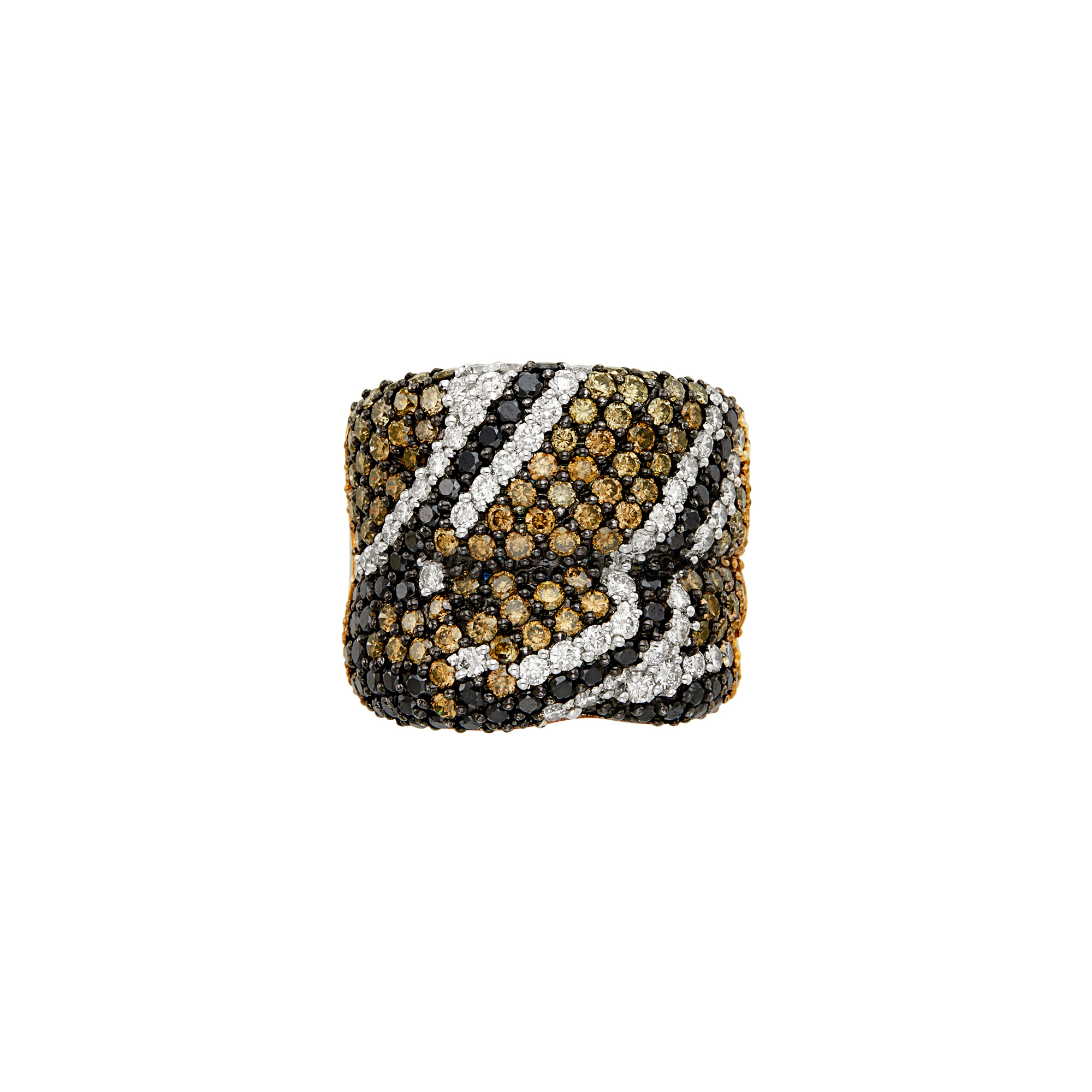 Lot image - Wide Tricolor Gold, Diamond, Black and Brown Diamond Ring