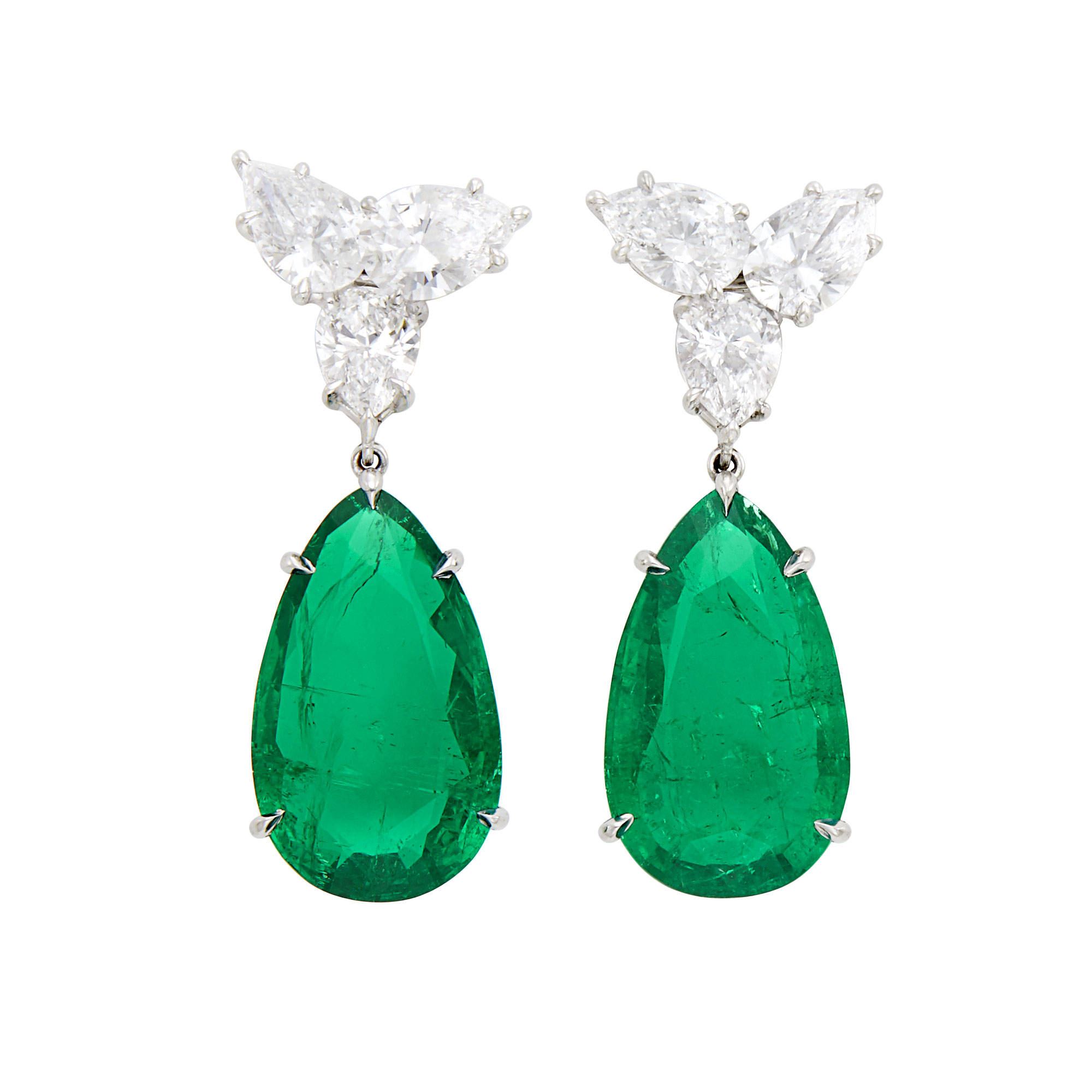 Lot image - Pair of Platinum, Emerald and Diamond Pendant-Earrings, Harry Winston