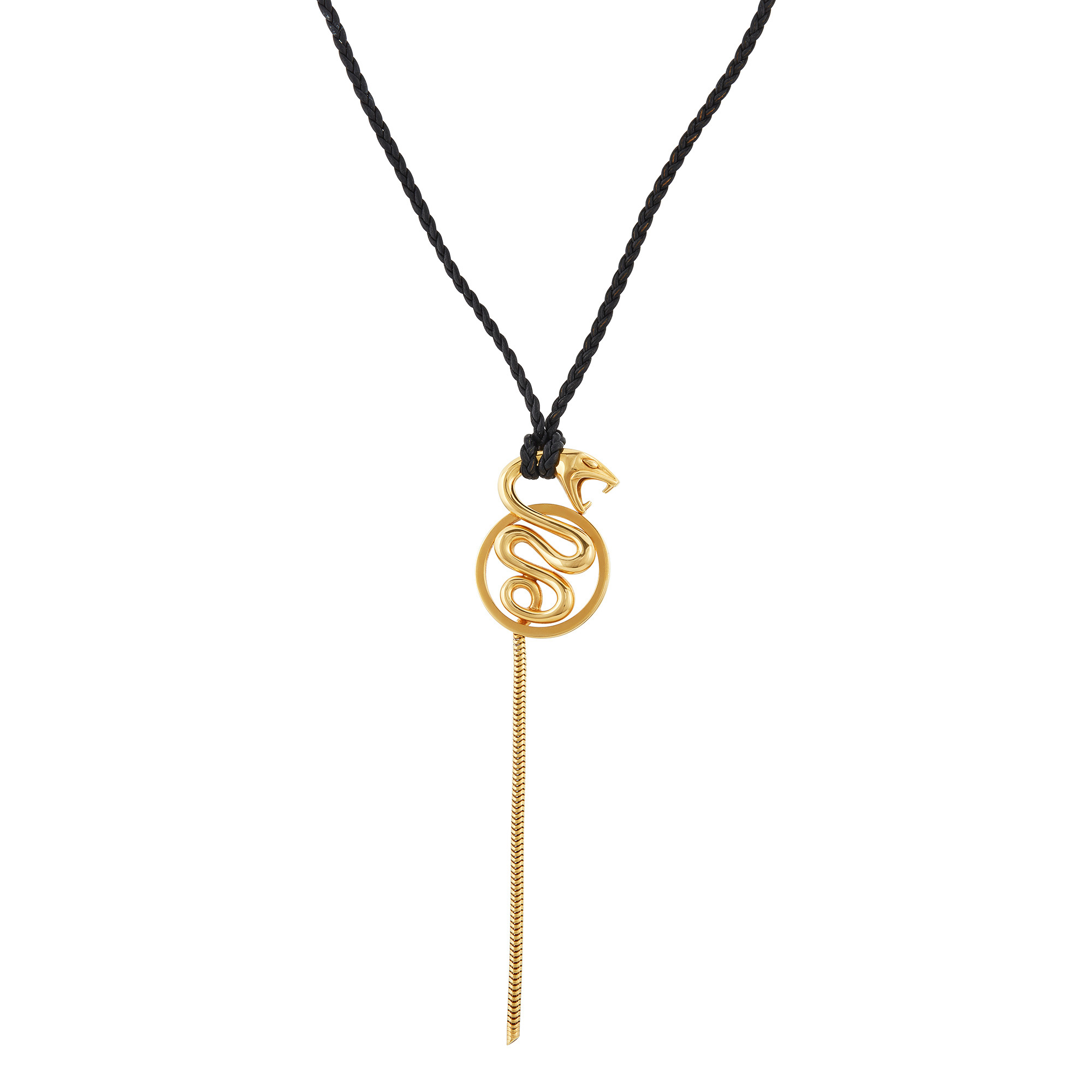 Lot image - Boucheron Gold Serpent Pendant Cord Necklace, France
