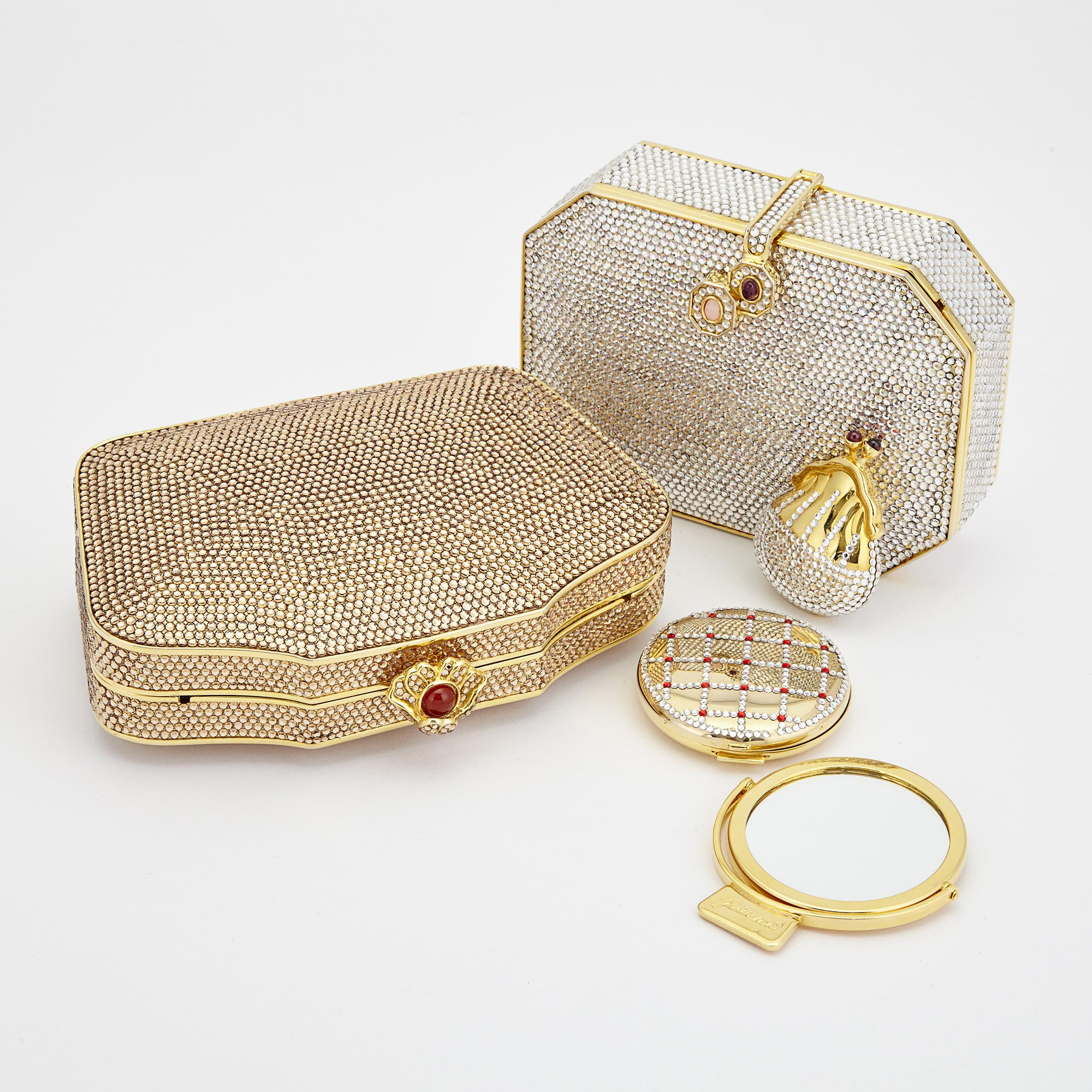 Lot image - Two Rhinestone Evening Clutches, Compact and Pill Box, Judith Leiber