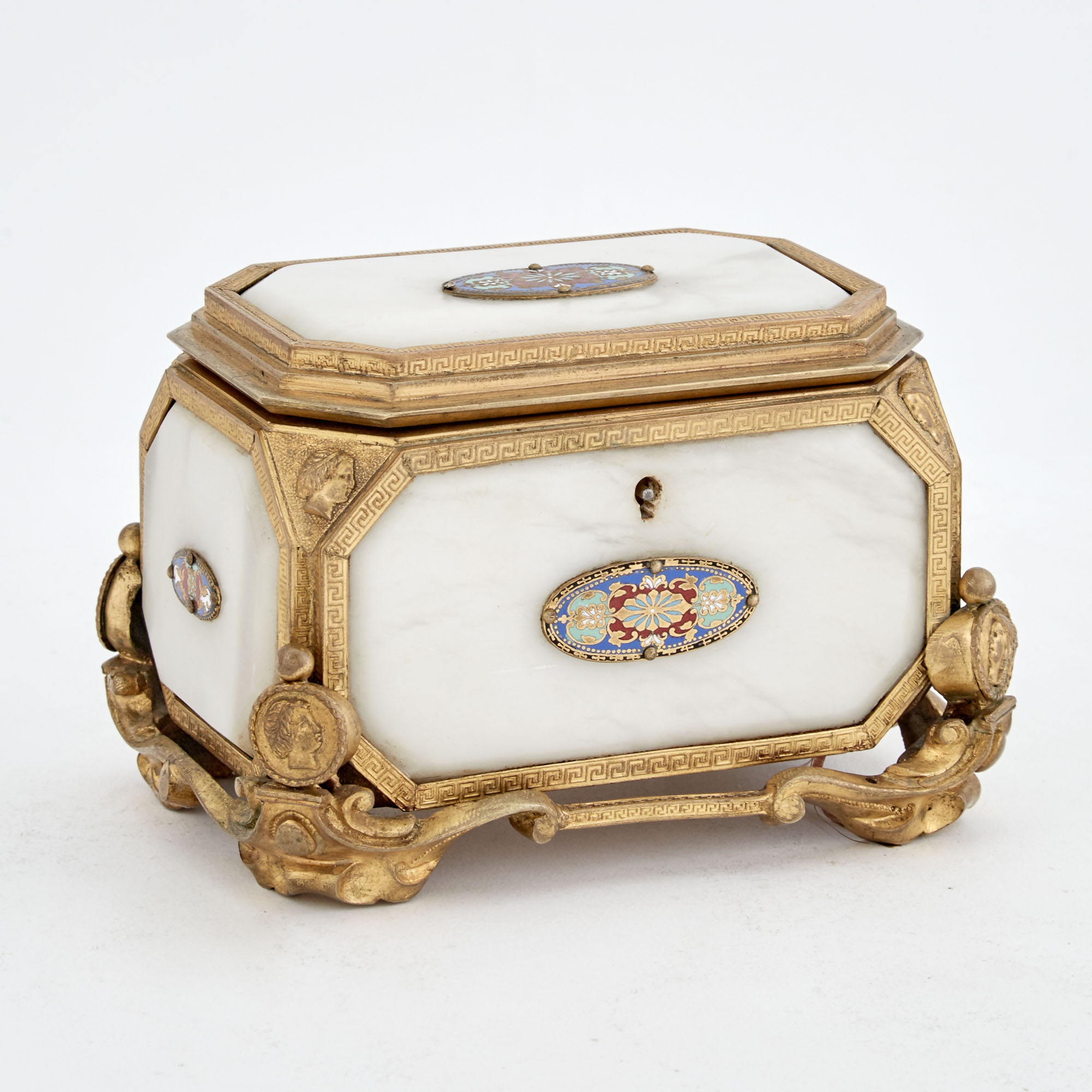 Lot image - Neoclassical Style Gilt-Metal, White Marble and Enameled Metal Jewelry Box