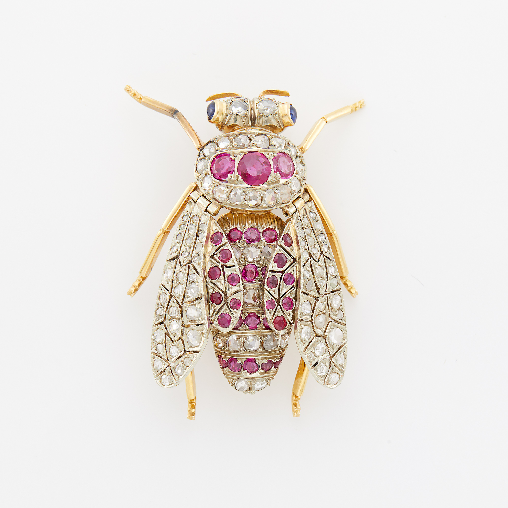 Lot image - Two-Color Gold, Ruby, Diamond and Cabochon Sapphire Insect Brooch