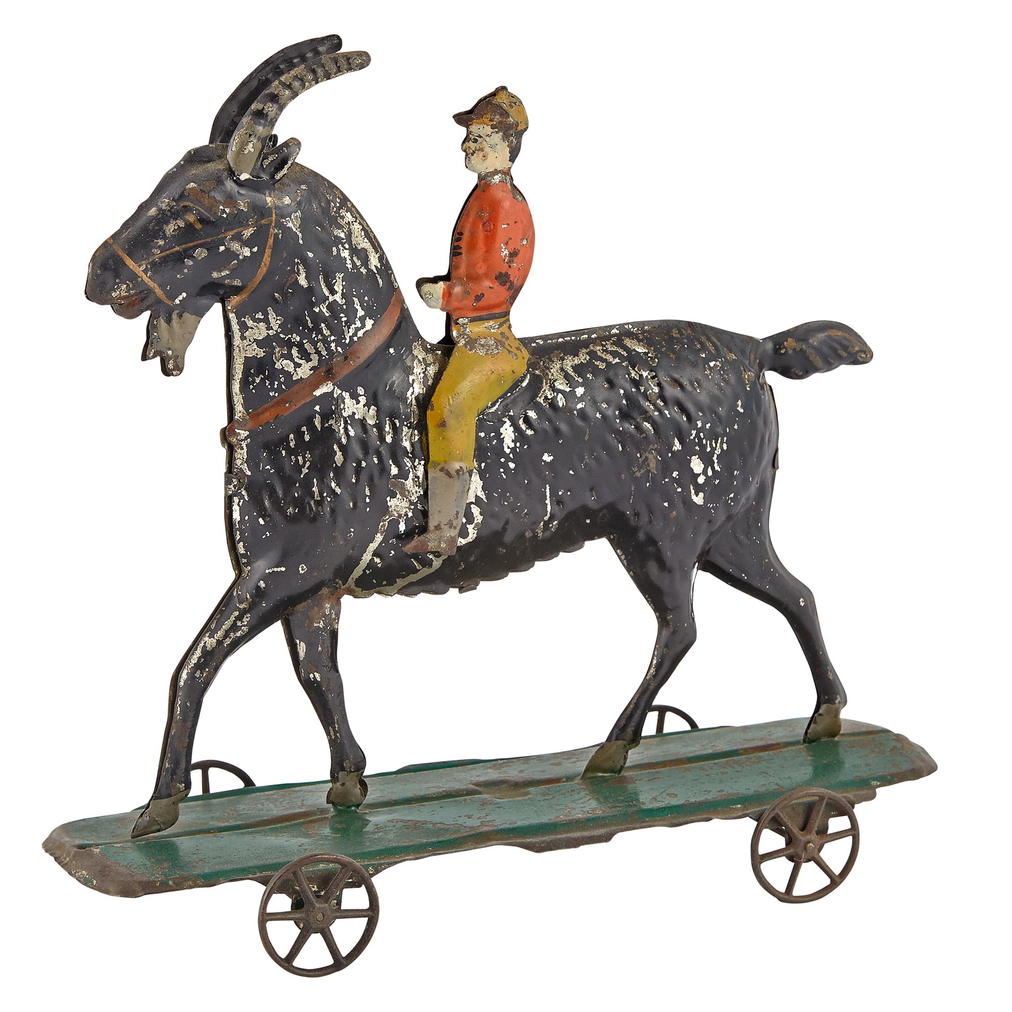 Lot image - Large Billy Goat with Rider Tin Toy