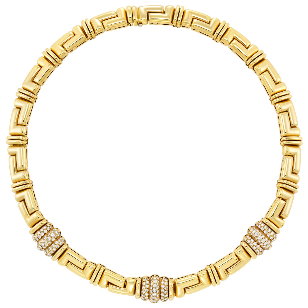 Lot image - Gold and Diamond Necklace, Bulgari