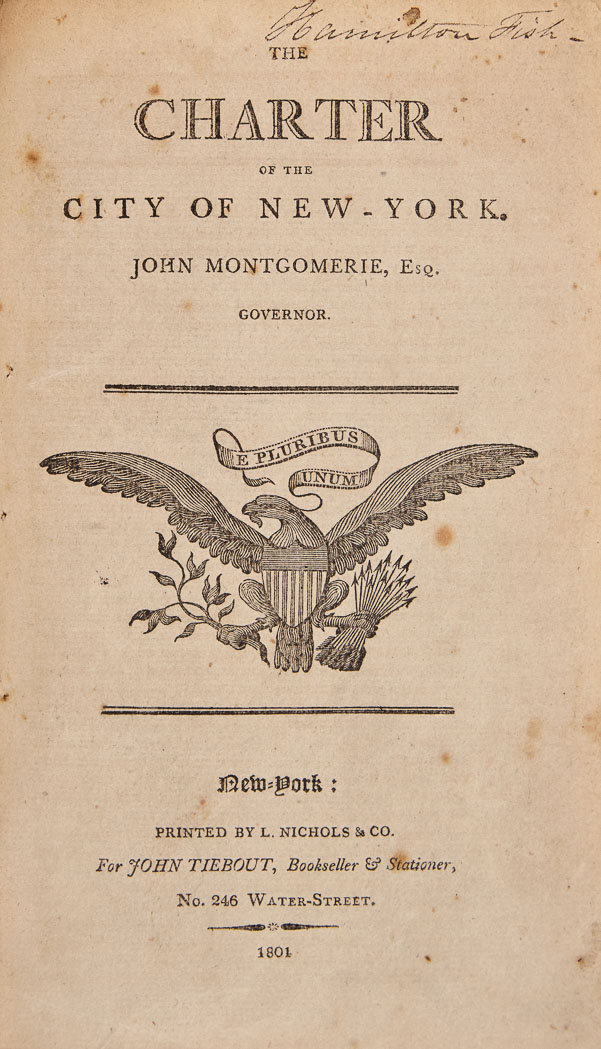 Lot image - [NEW YORK CITY-CHARTERS]  The Charter of the City of New York. John Montgomerie, Esq., Governor.