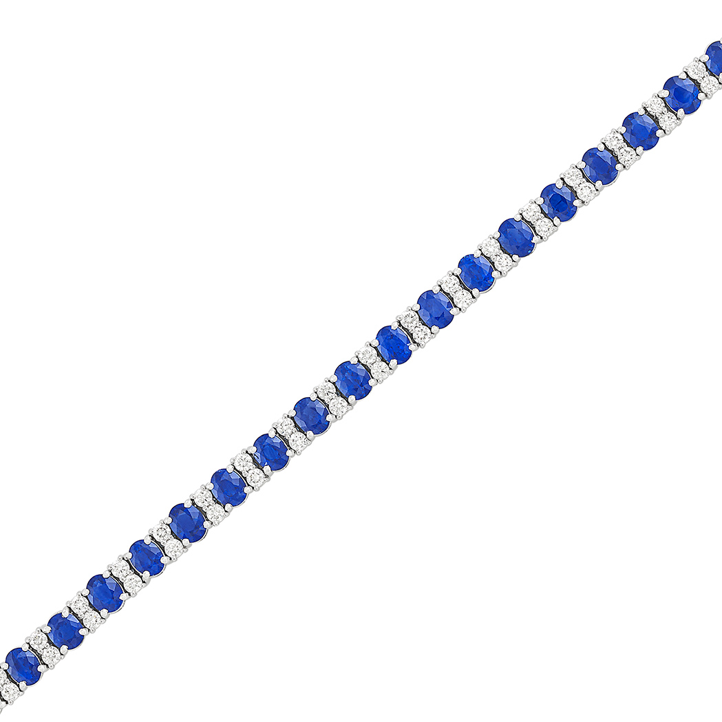 Lot image - White Gold, Sapphire and Diamond Bracelet
