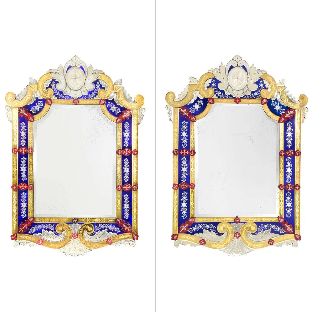 Lot image - Pair of English Blue, Red and Gilt-Engraved Glass Venetian Mirrors attributed to F. & C. Osler