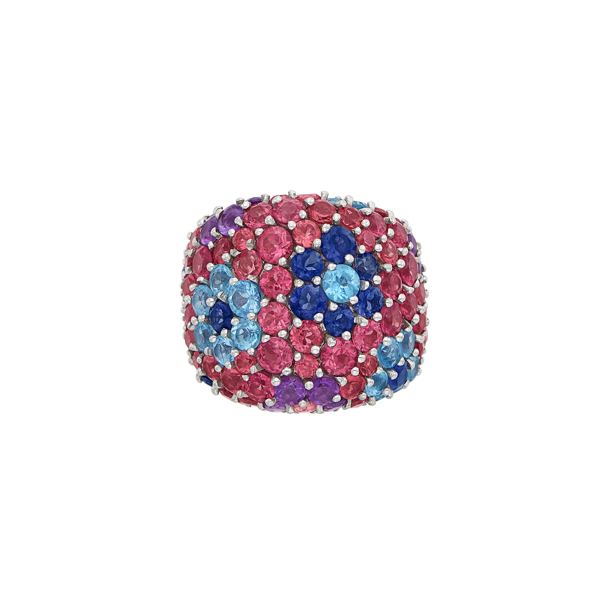 Lot image - Wide White Gold and Gem-Set Flower Ring