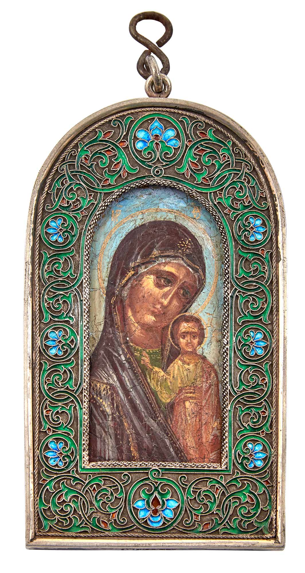Lot image - Russian Silver and Cloisonné Enamel Icon of the Mother of God of Kazan