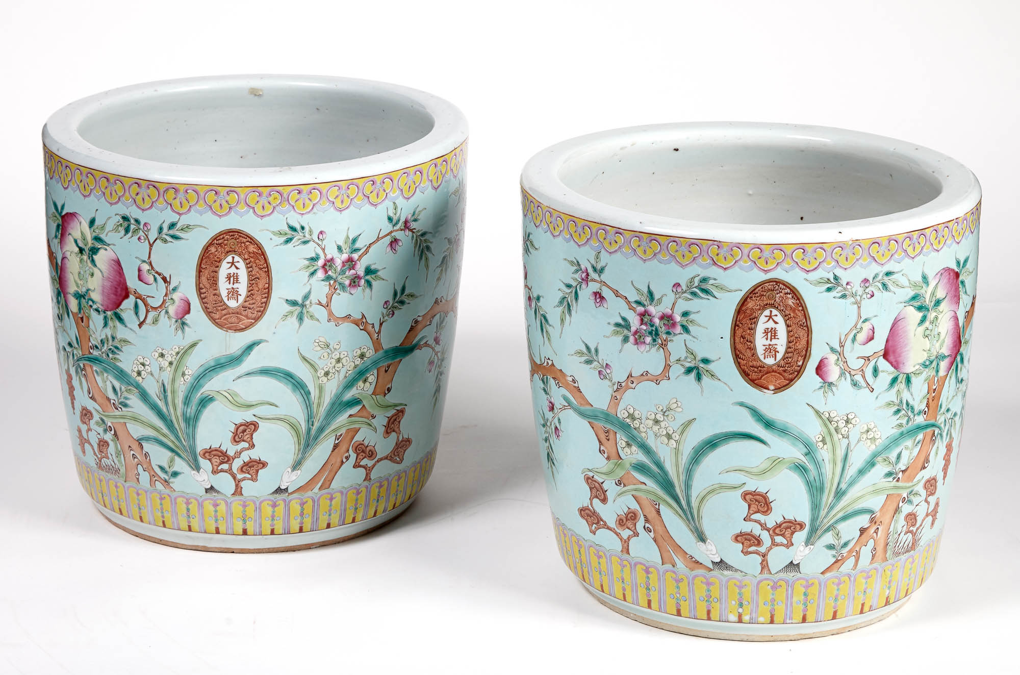 Lot image - Pair of Chinese Glazed Ceramic Peach Decorated Jardinières